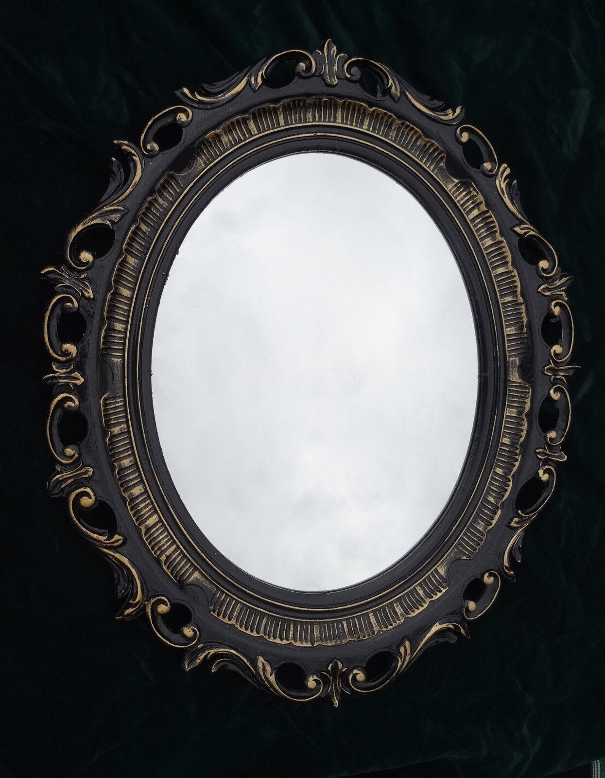 Verbazingwekkend Wandspiegel Schwarz Gold Barock Shabby Spiegel Oval 58x68 BAROCK KQ-48
