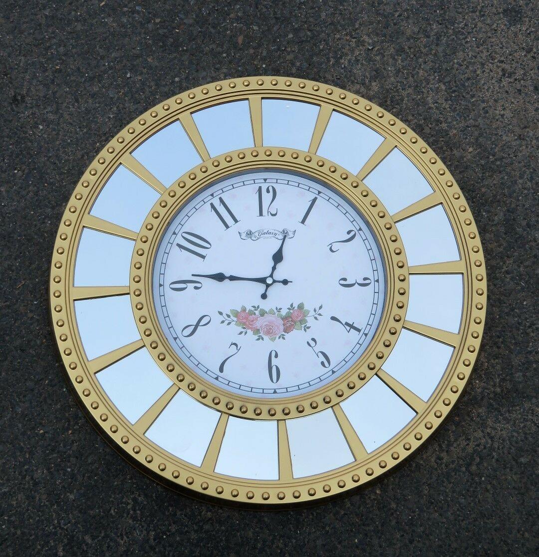 Wanduhr Gold Blumenmuster Rund 55cm Moderne Uhr Dekorative Spiegel