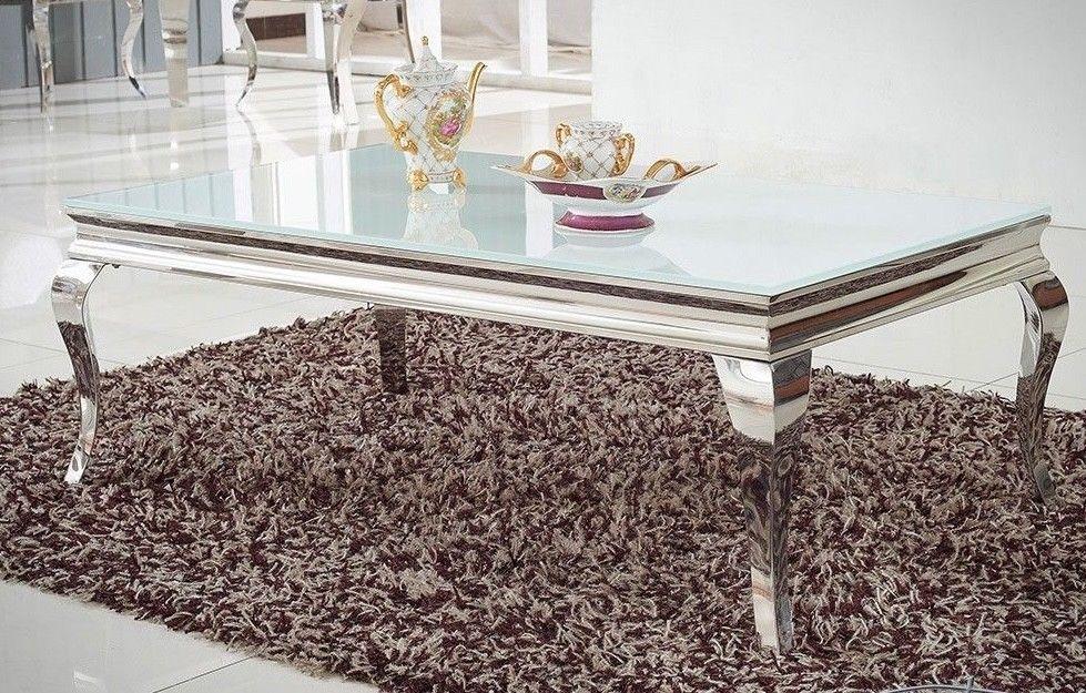 couchtisch edelstahl glas wohnzimmertisch 130x70 cm. Black Bedroom Furniture Sets. Home Design Ideas