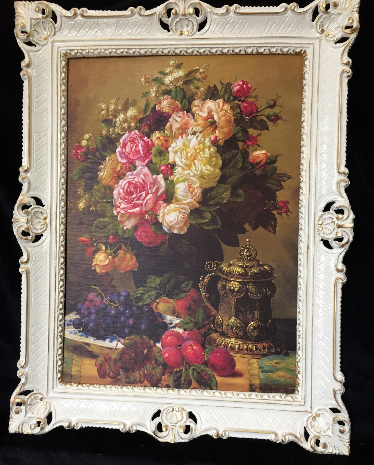 Gerahmte Gemälde Blumen Bilder 90x70 Blumenbild mit Rahmen ...