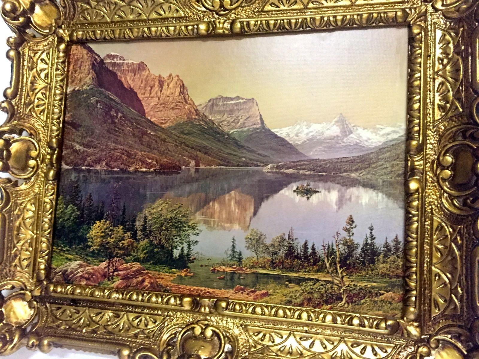 Gerahmte Gemälde Berge See 56X46 Landschaft Bild mit Rahmen Berge ...