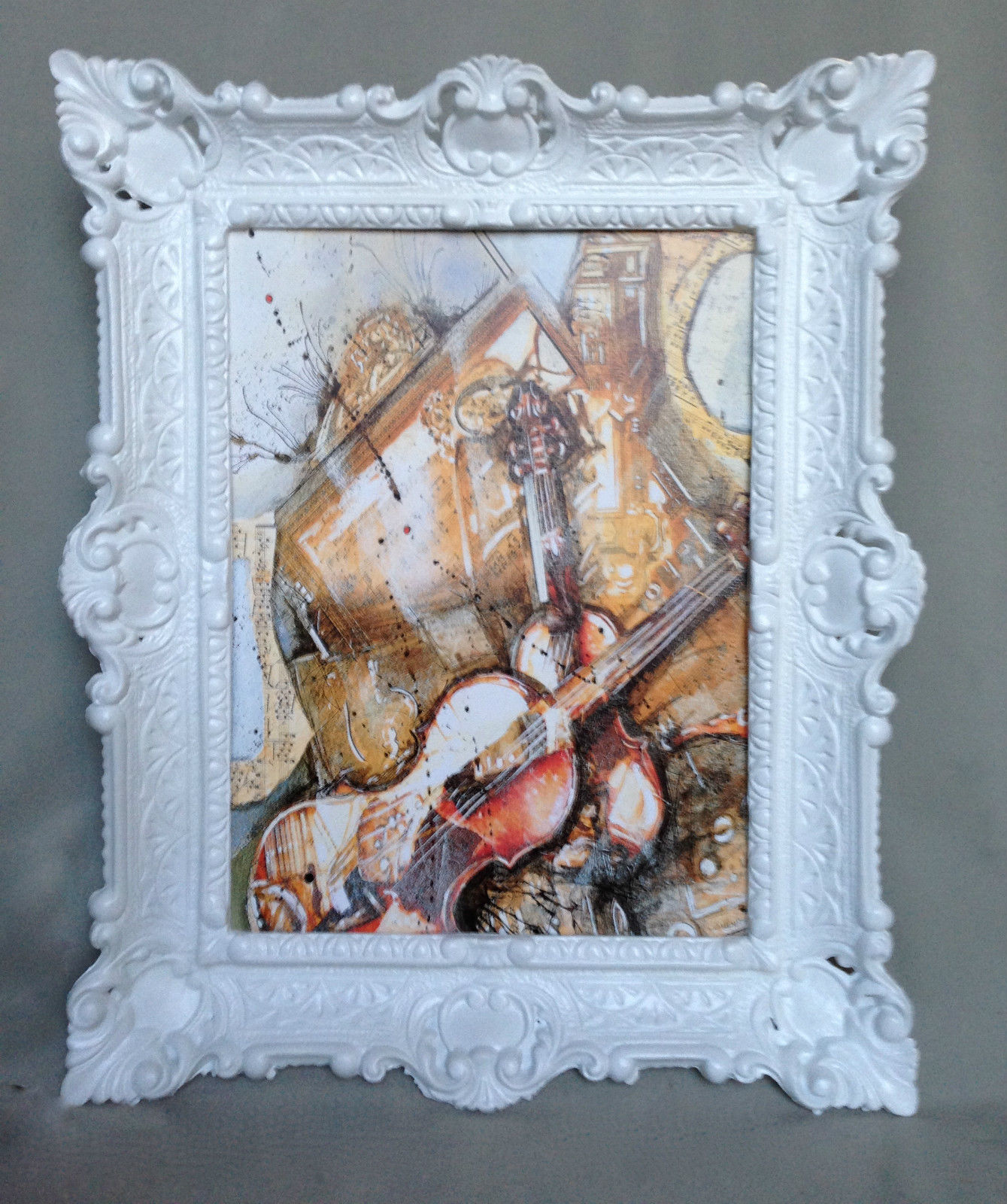 Bild mit Rahmen Gerahmte Gemälde 57x47 GEIGE Twin Music Instrumente ...