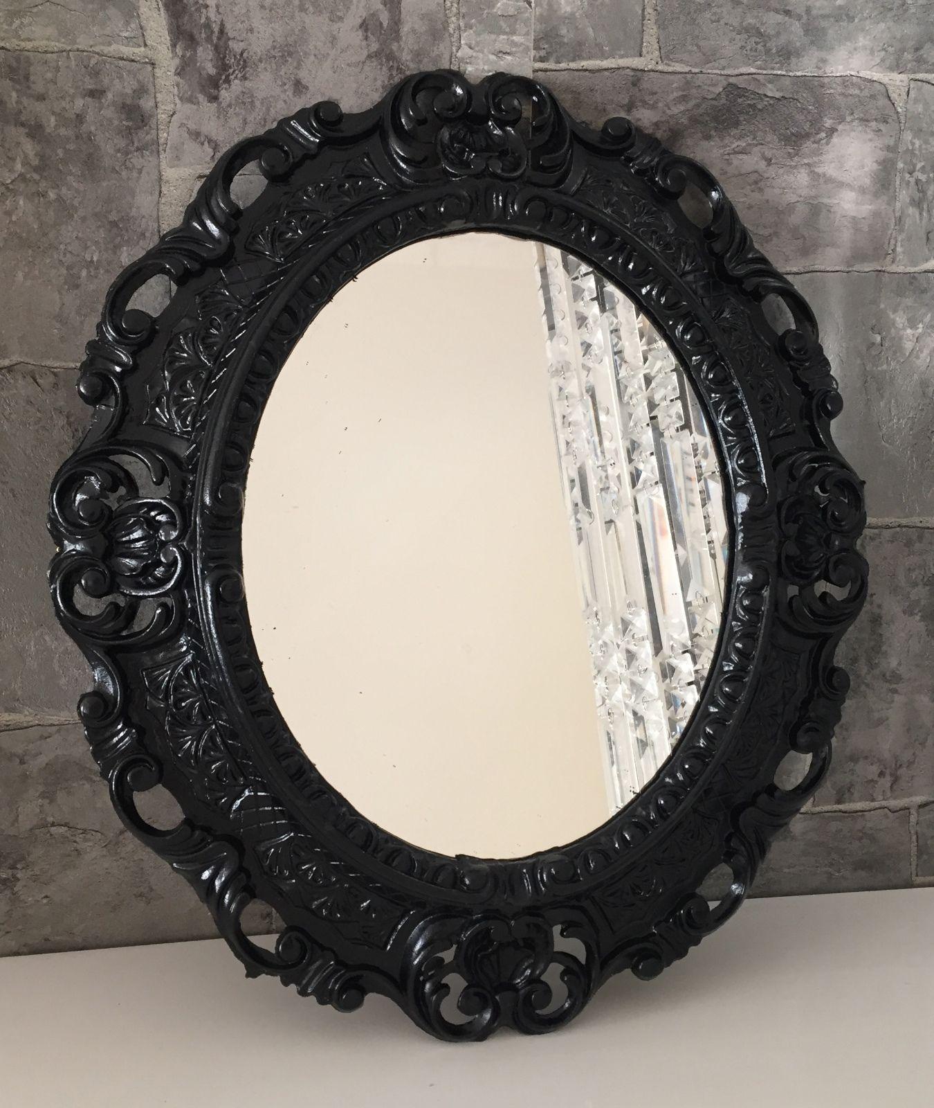 Wandspiegel Schwarz Barock Oval Spiegel Antik 45x38 Bad/Flur ...