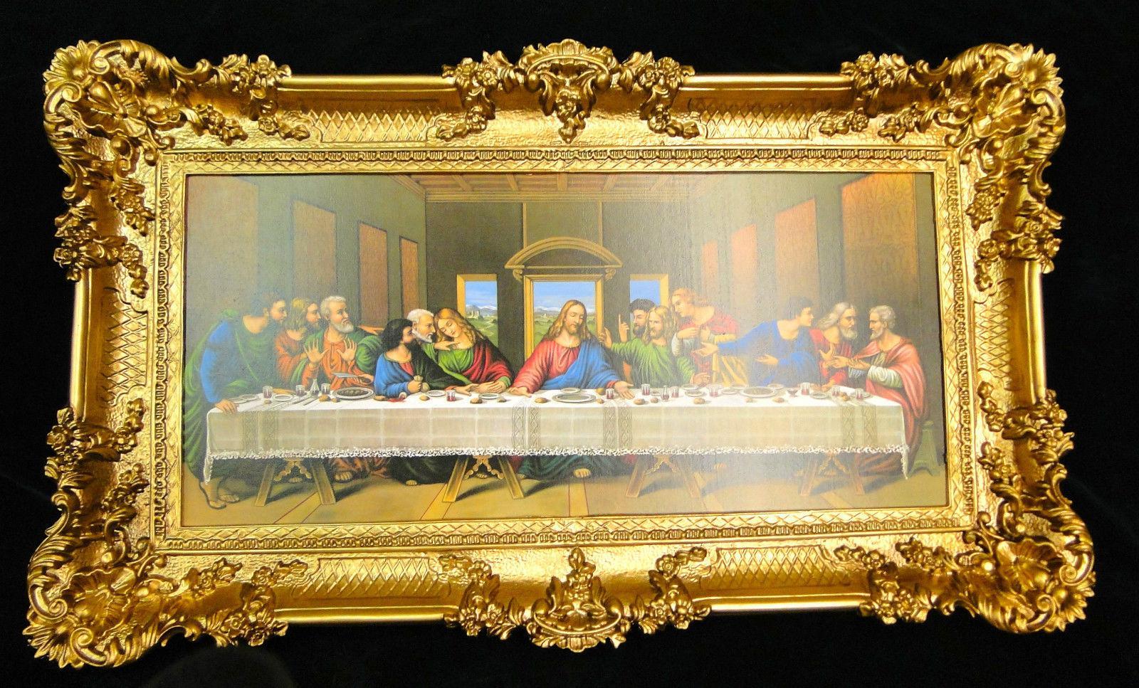 Heiligenbilder abendmahl 97x58 jesus gem lde mit rahmen for Spiegel jesus