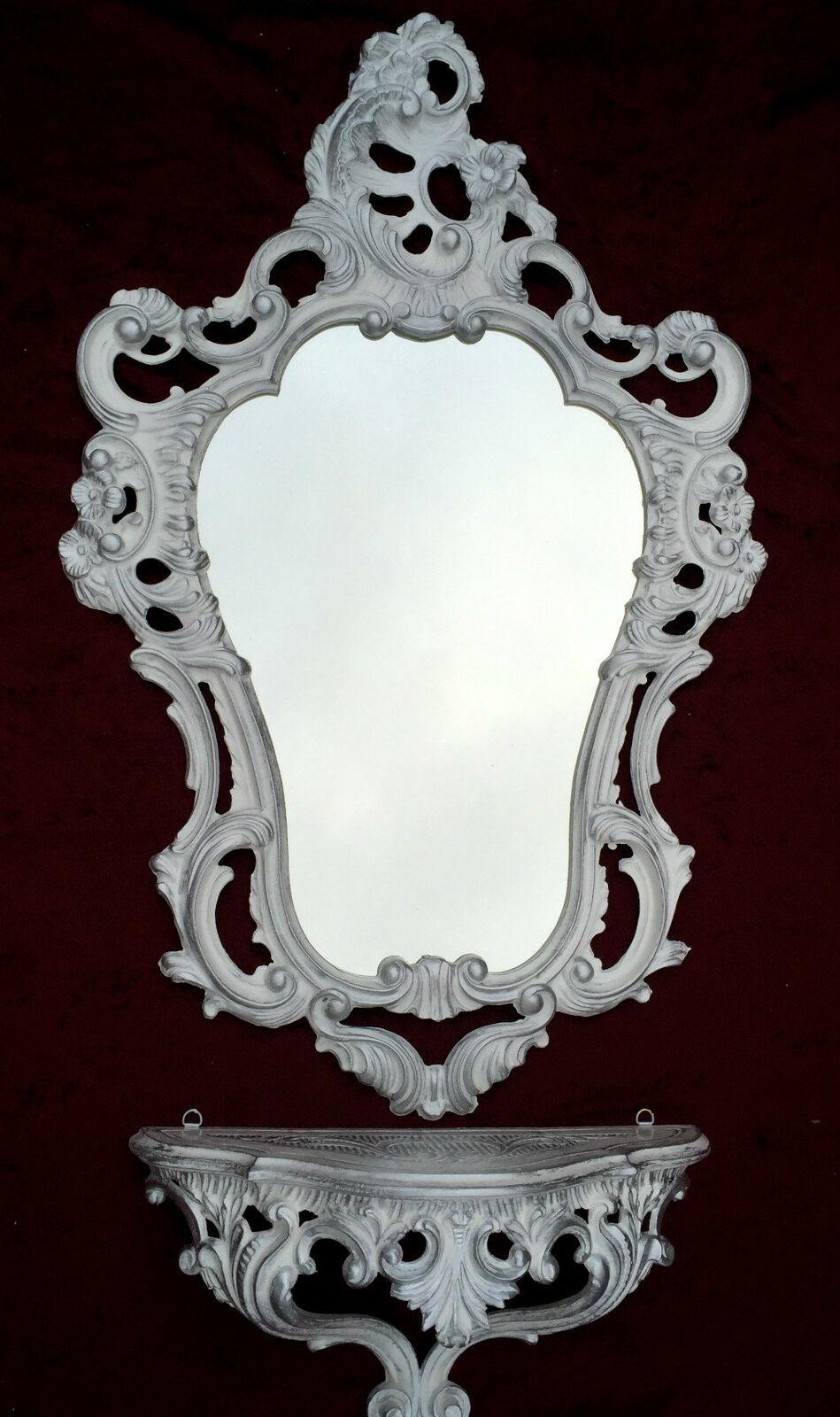 Badzubehör & -textilien Antik Wandspiegel Mit Wandkonsole Spiegel 50x76 Antik Barock Spiegelablage Weiß Kleinmöbel & Raumaccessoires