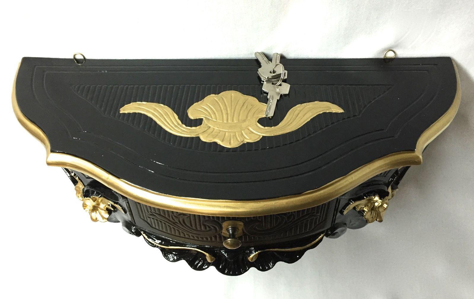 Wandkonsole Mit Schublade wandkonsole mit schublade spiegelkonsole barock schwarz gold 50x27