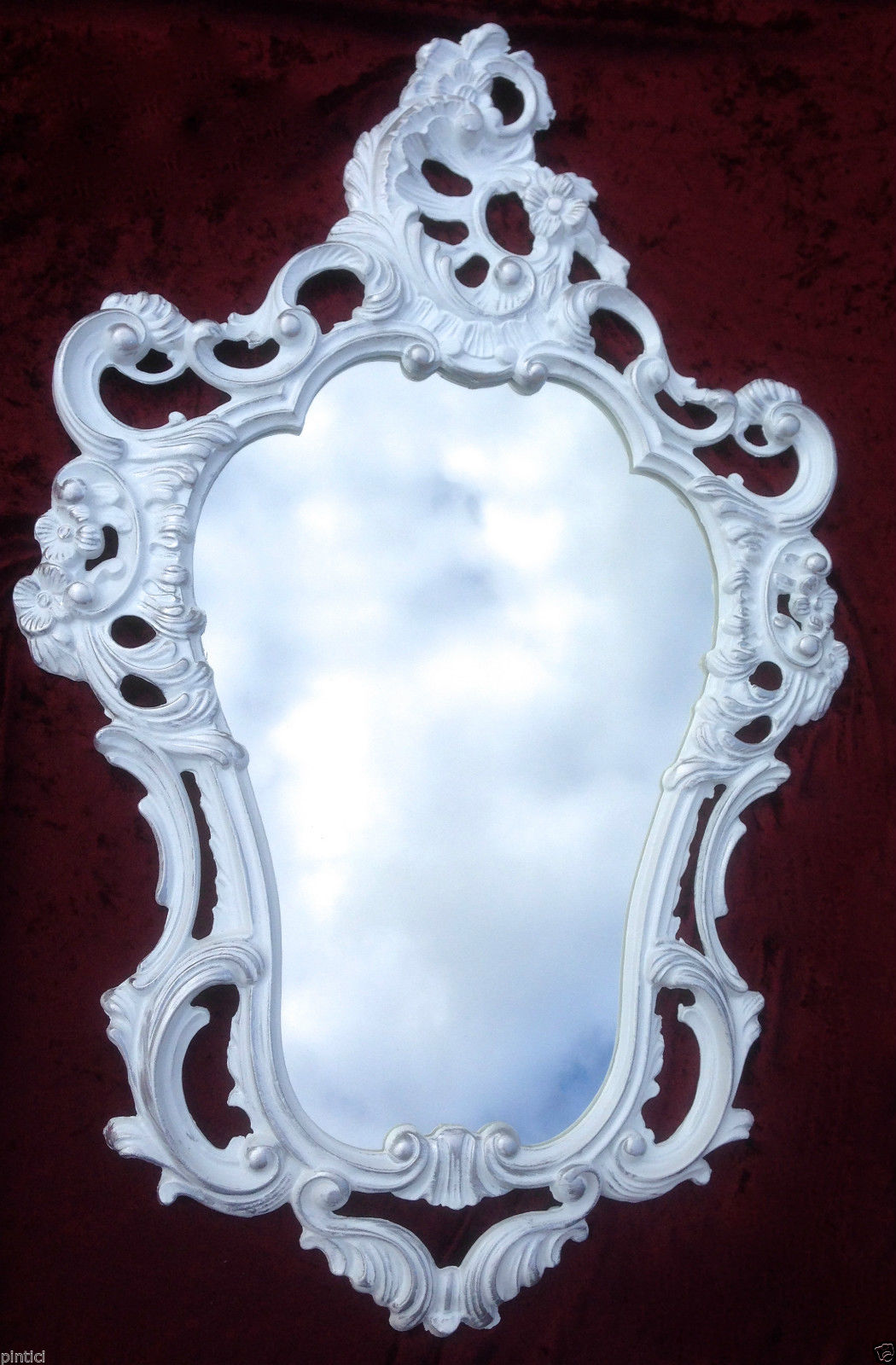 Wandspiegel Oval Weiß-silber Spiegel Barock Retro 50x76 Shabby Prunk ...