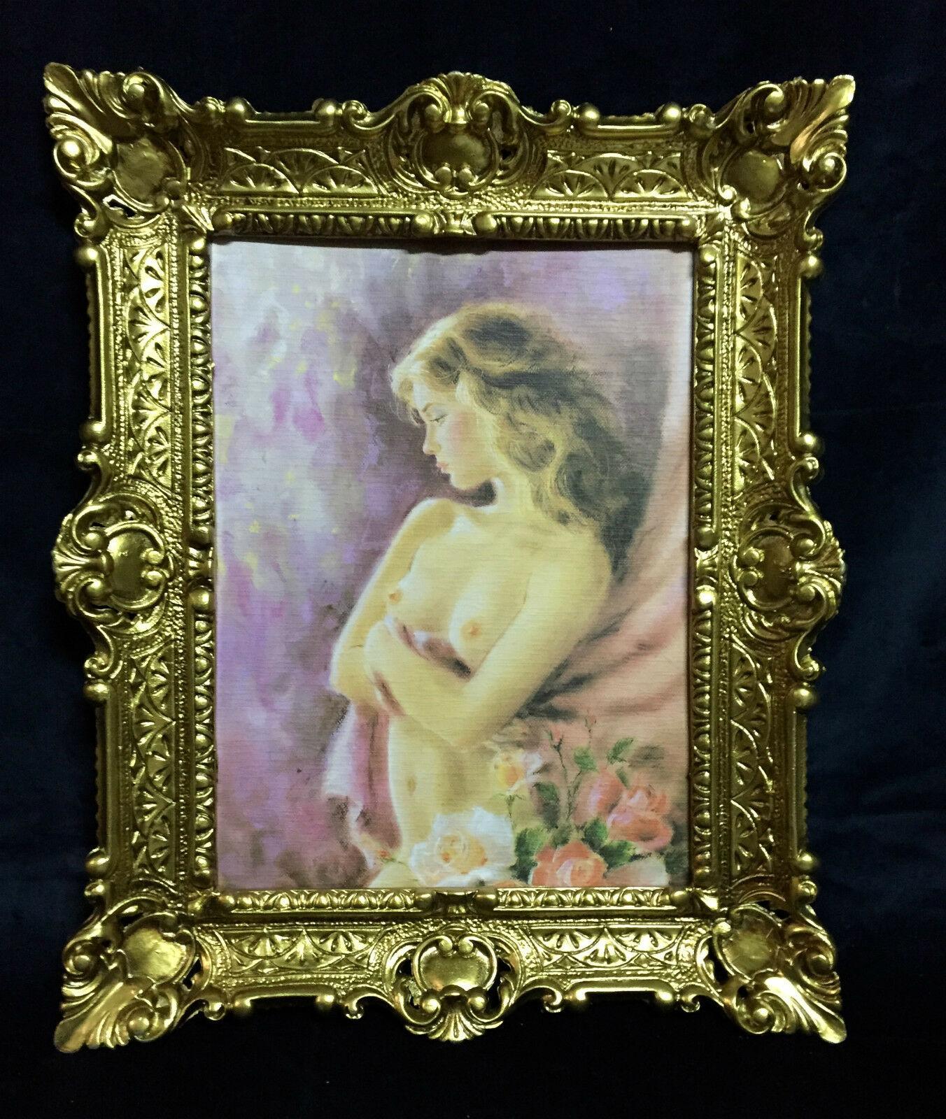 Akt Erotik Gemälde gerahmte Bild 56x46 Frau Nackt Bild mit Rahmen ...