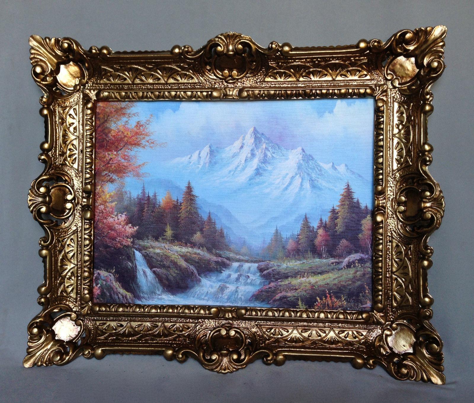Bild mit Rahmen Gerahmte Gemälde 57x47 Wald Landschafts Wälder Berge ...