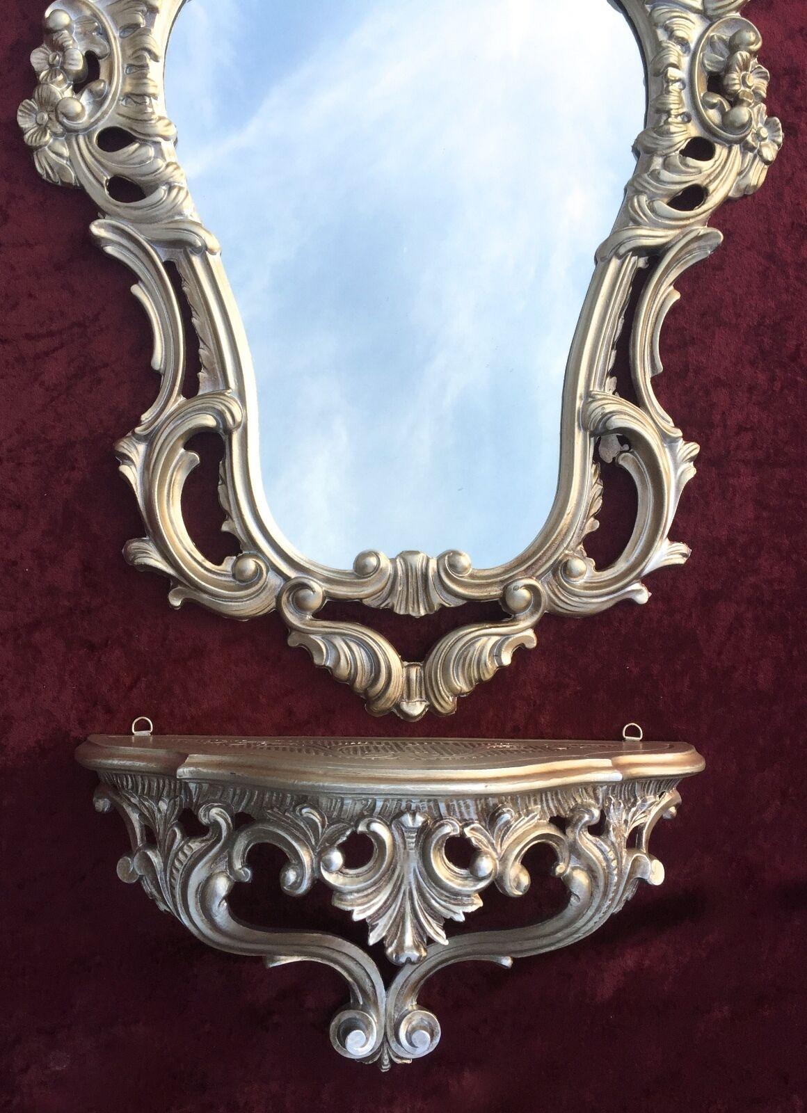 Konsolen Antik Wandspiegel Mit Wandkonsole Spiegel 50x76 Antik Barock Spiegelablage Weiß