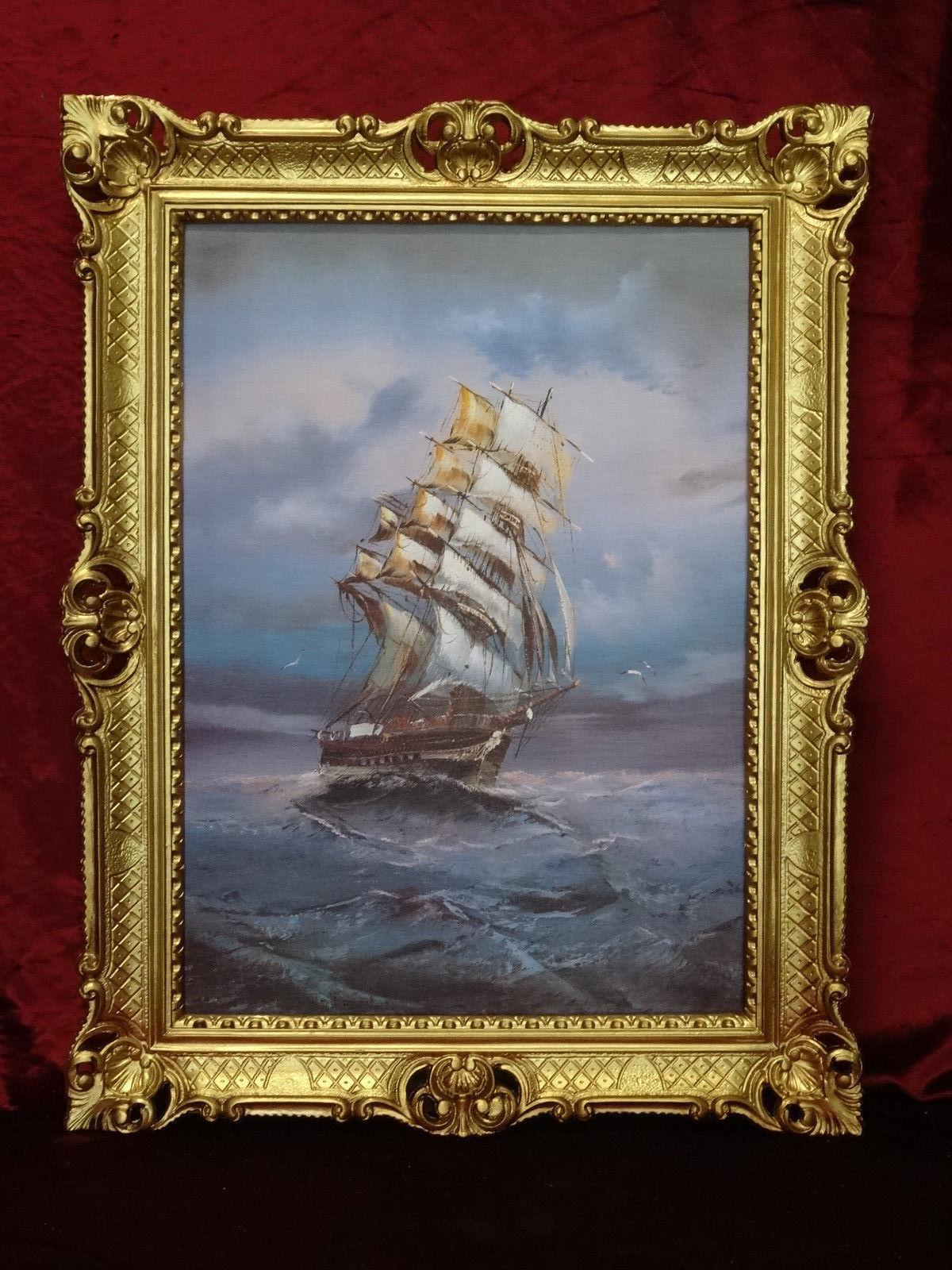 gem lde segelschiff meer schiffsbilder seest ck maritime 90x70 seefahrt im sturm kaufen bei. Black Bedroom Furniture Sets. Home Design Ideas