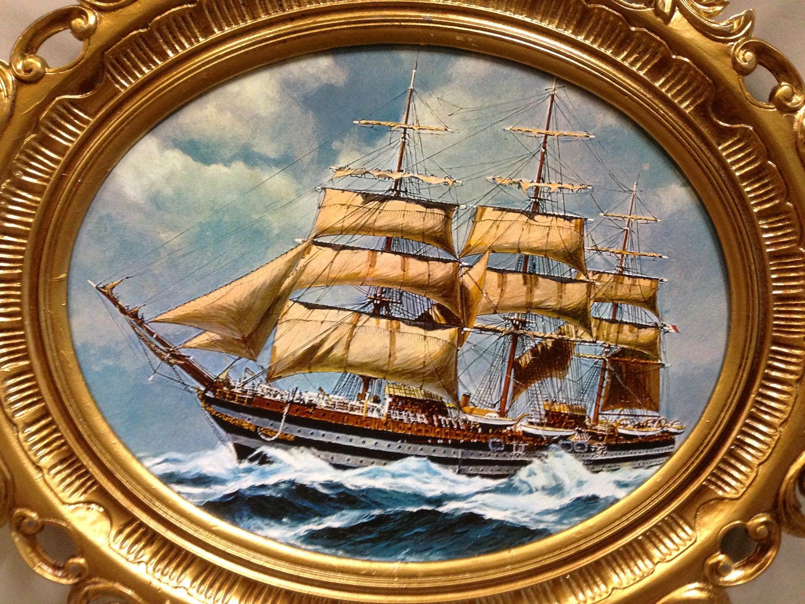 Segelschiffe auf dem meer  Segelschiff Meer Maritime Gemälde Schiff Bild Bilderrahmen Wandbild ...