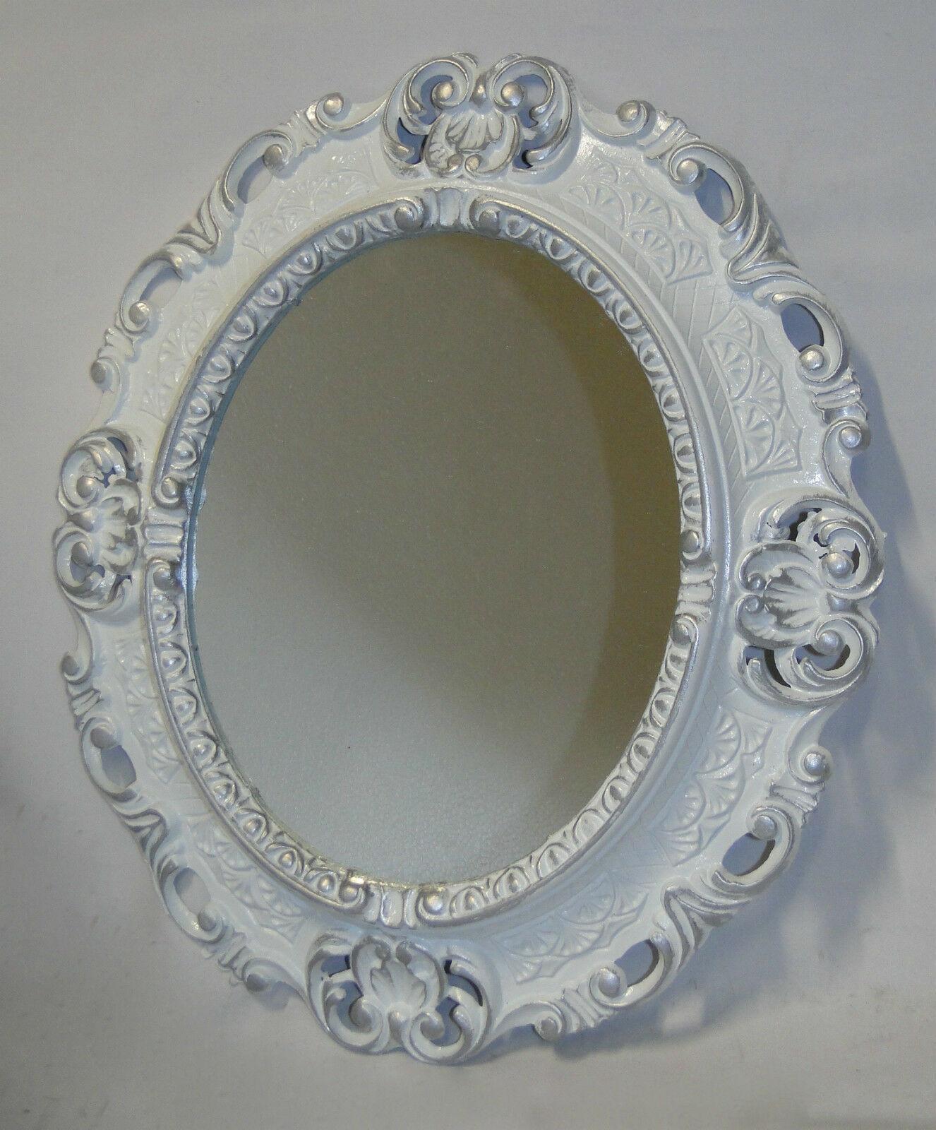 Wandspiegel Spiegel BAROCK Antik WEIß  45x38 Oval Badspiegel Bilderrahmen 103045 Wykonane od 1945, kopie