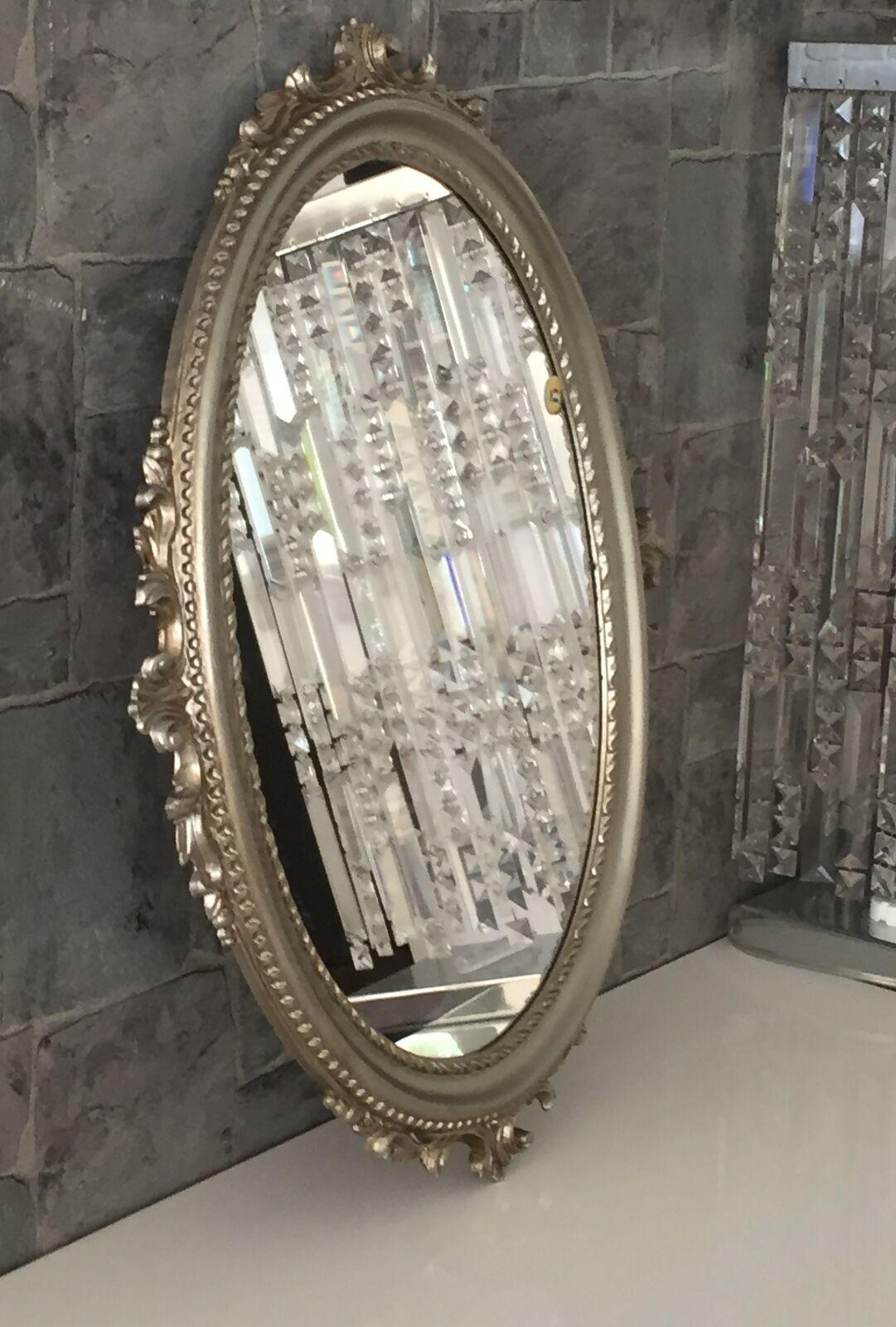 Wandspiegel Antik Silber Oval Barock Badspiegel Spiegel 62x48cm