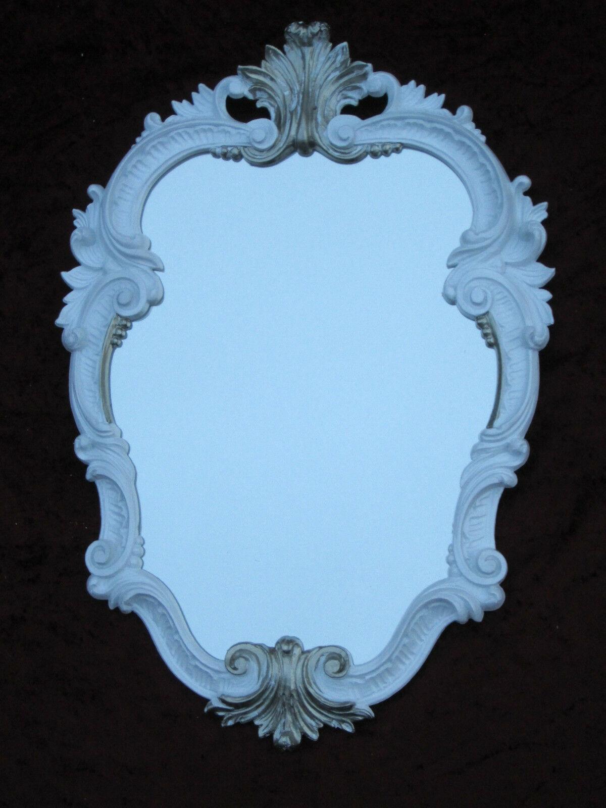 Wandspiegel Weiss Silber Antik Oval Vintage Badspiegel Barock 49x33