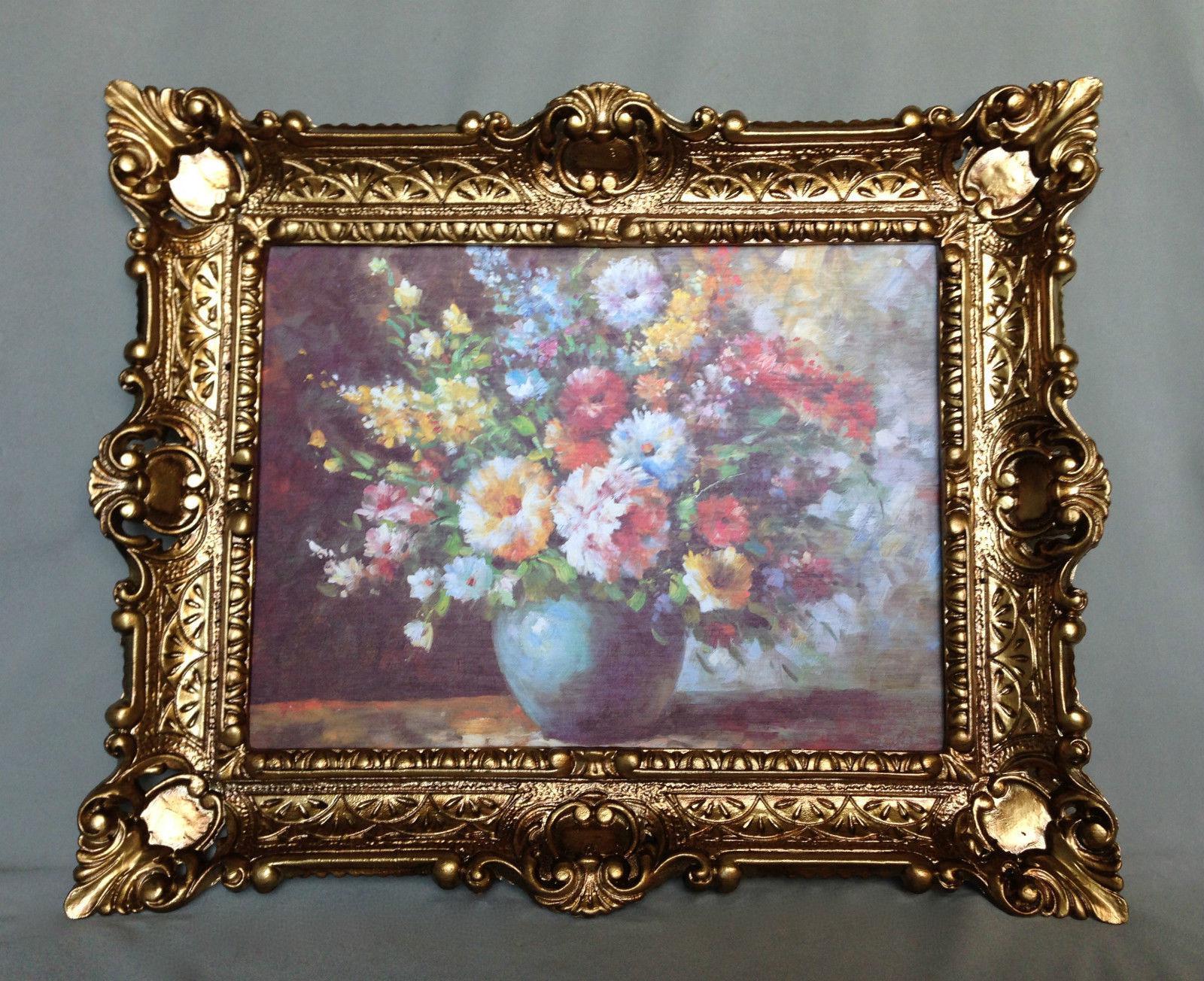 Gemälde Blumen in Vase Blau Wandbild 57x47 Blumen Bild mit Rahmen ...