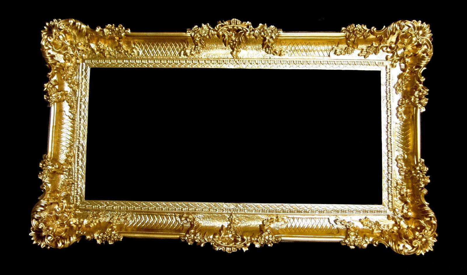 Großer Bilderrahmen xxl Barock Antik Gold 96x57 Bilderrahmen Barock ...