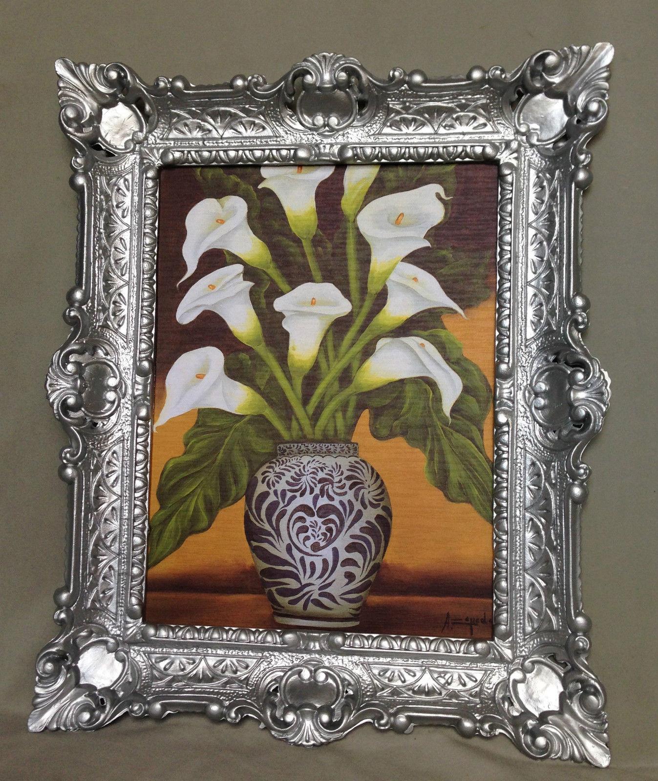 Bild mit Rahmen SILBER Blumen Calla in Vase Wandbild 57x47 Gerahmte ...