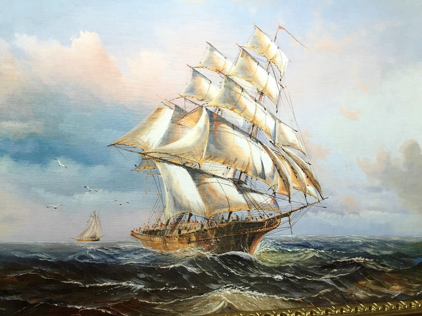 gem lde segelschiff meer schiffsbilder seest ck maritime wei schiffe 90x70 kaufen bei pintici. Black Bedroom Furniture Sets. Home Design Ideas