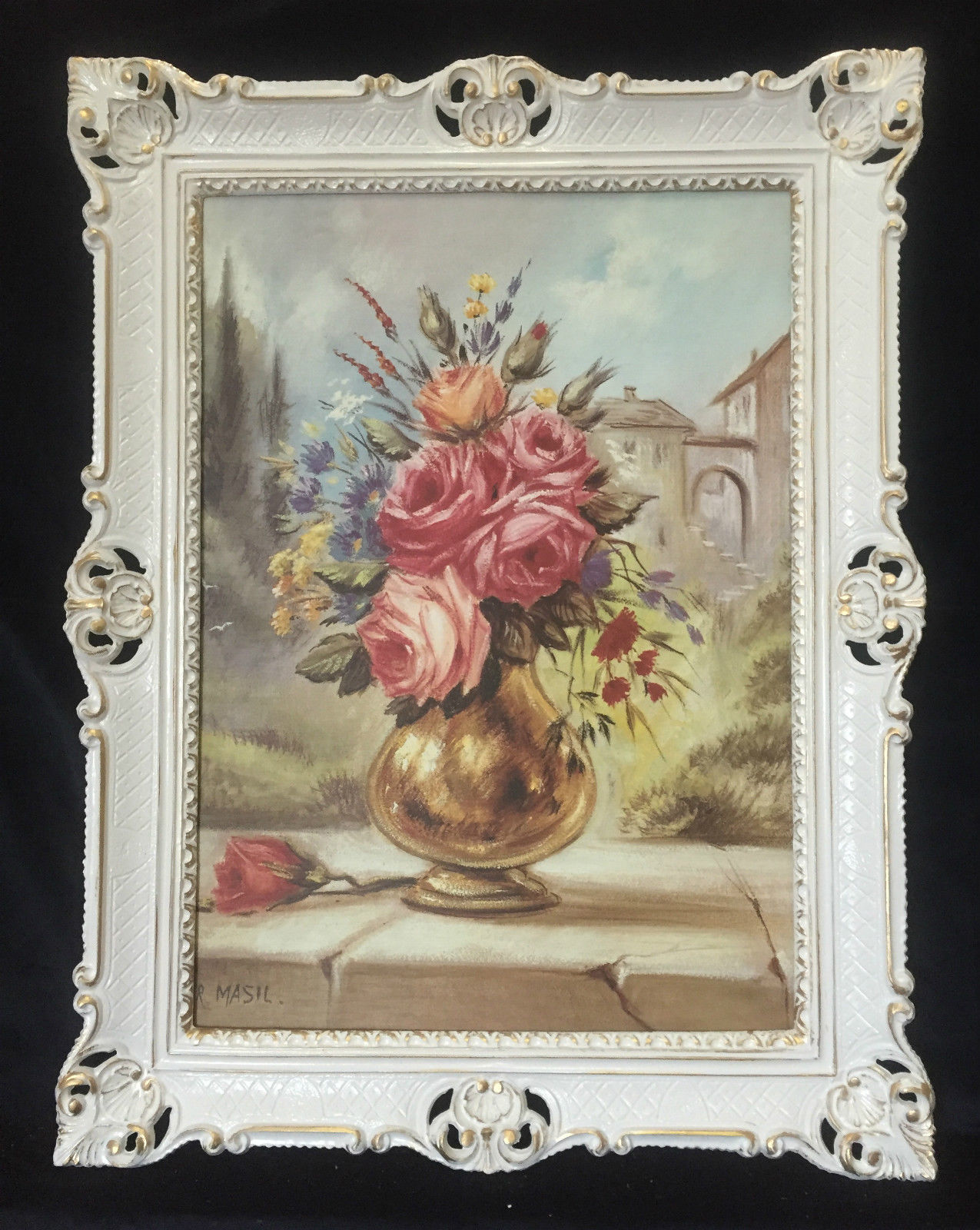 Gemälde Blumen Bild 90x70 Bild mit Rahmen Rosen in Goldene Vase ...