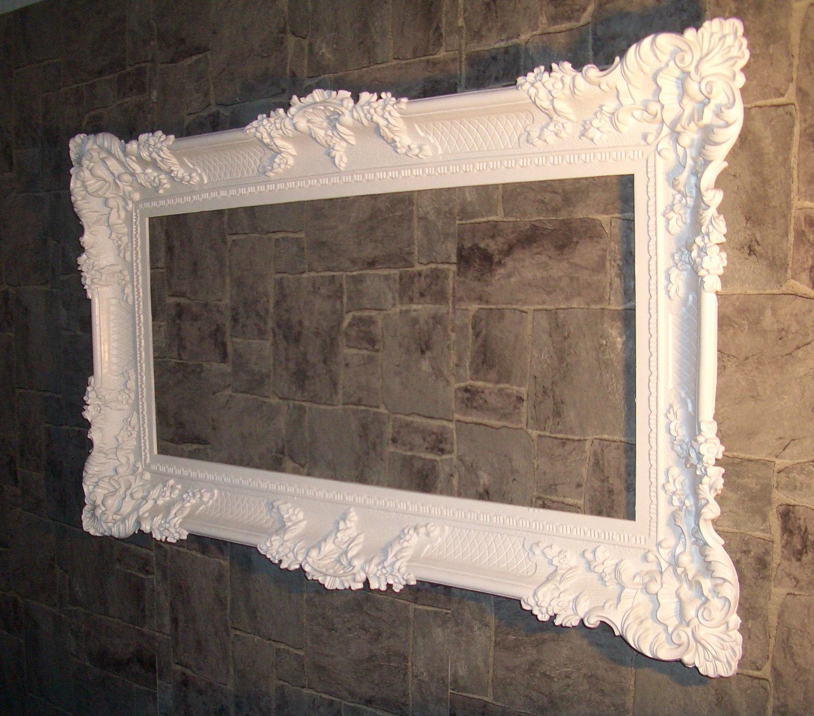 Bilderrahmen Barock Weiss mit Glas Gemälde Rahmen 97x57 Prunkrahmen ...