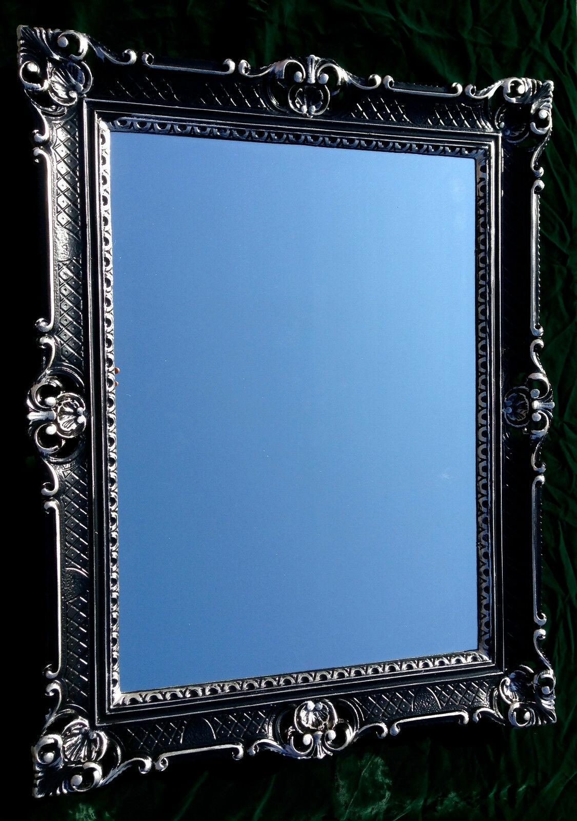 Mobiliar & Interieur Spiegel & Rahmen Wandspiegel Barock Rechteckig Spiegel Antik WANDDEKO Schwarz-Silber 90x70cm