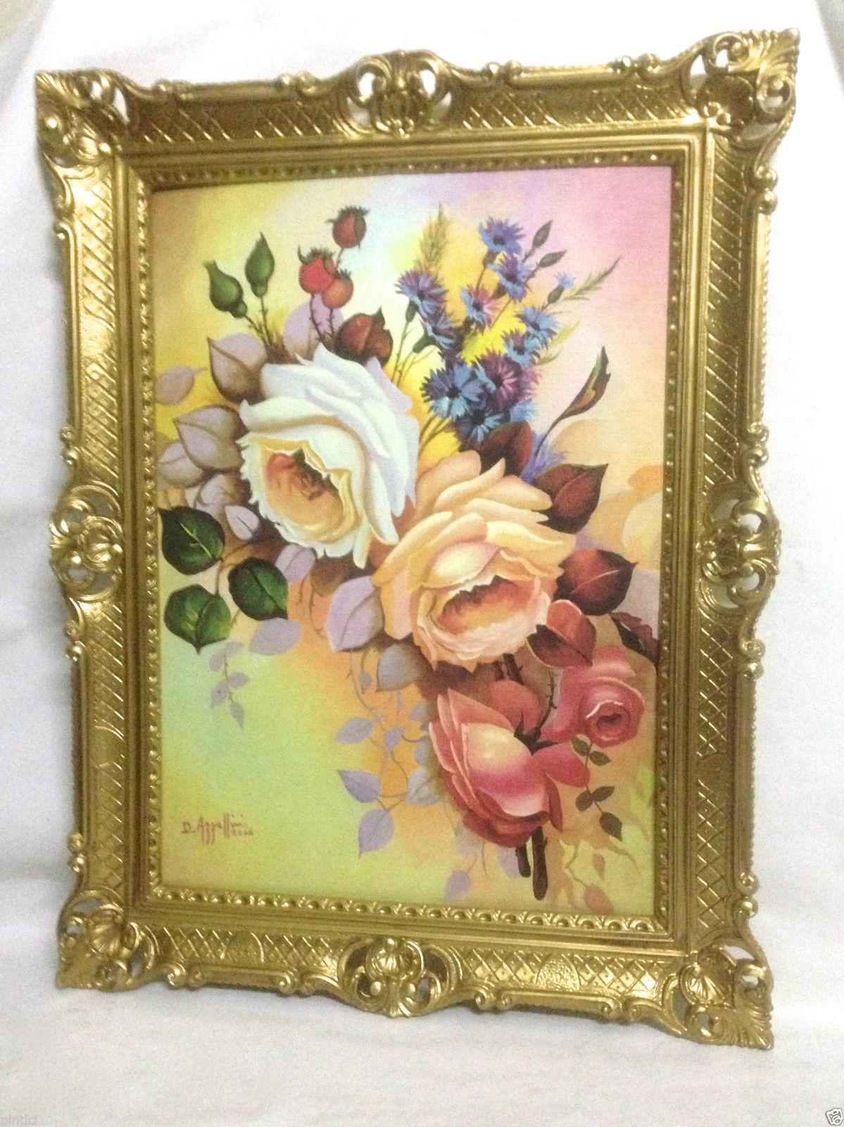 Gerahmte Gemälde Blumen Rosen Bild 90x70 Bilderrahmen Bild Mit ...
