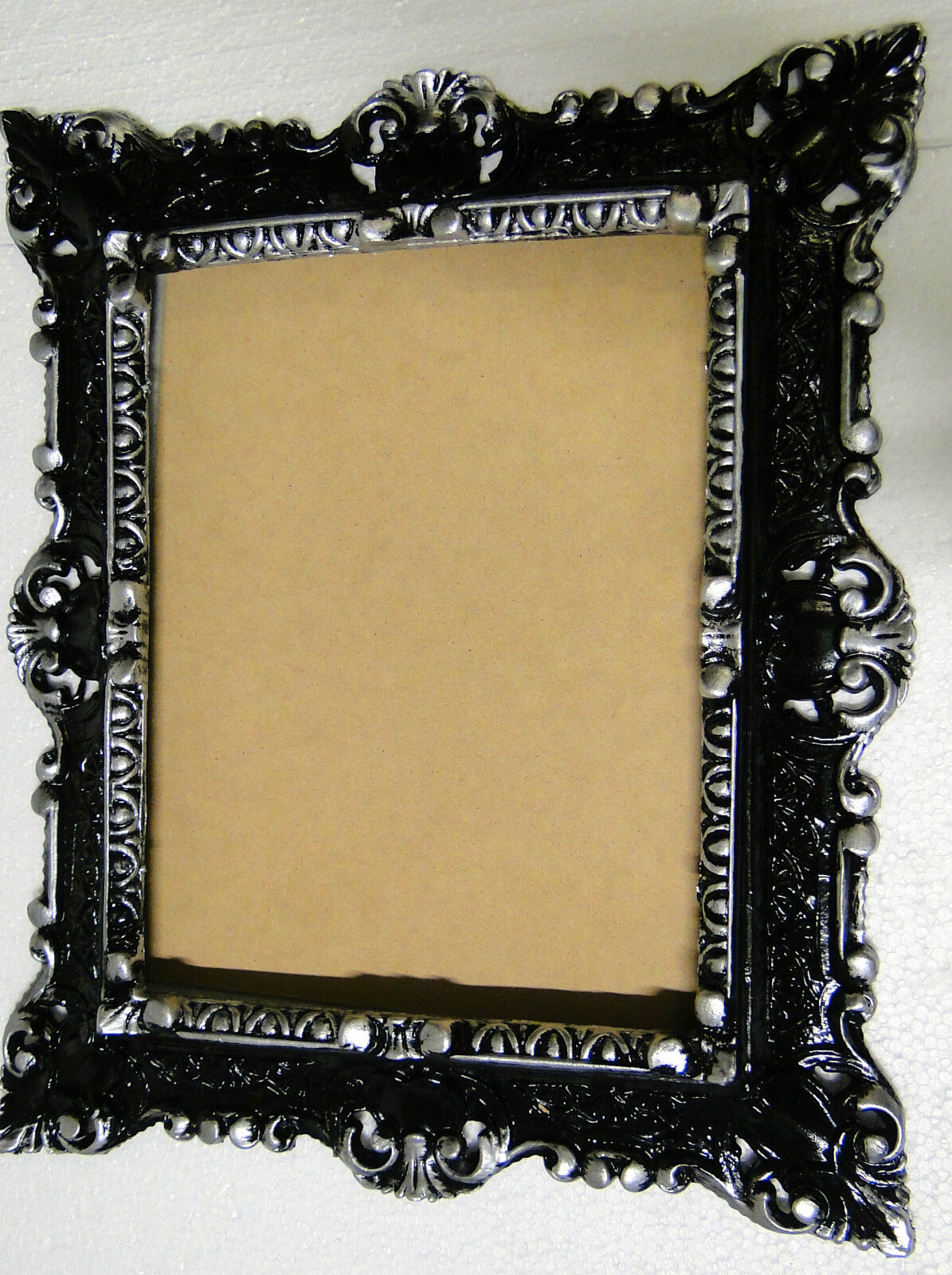 bilderrahmen mit glas 45x 37fotorahmen schwarz-silber antik barock