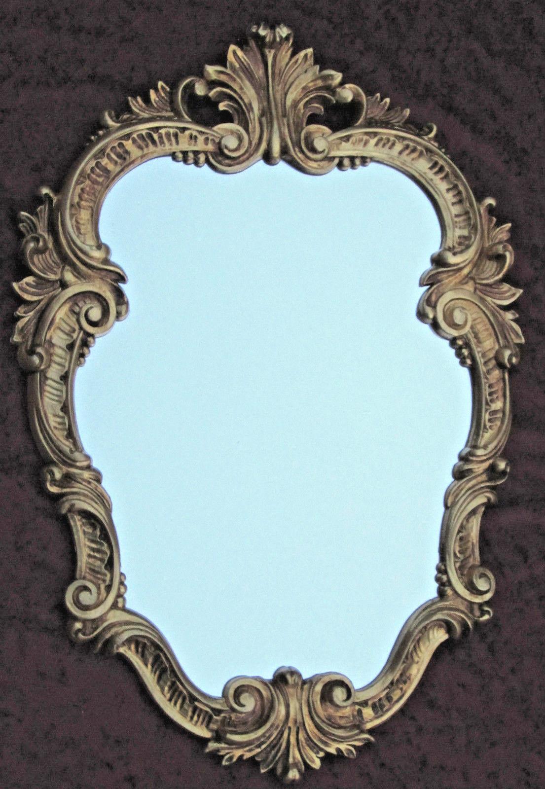 Wandspiegel Antik Gold Oval Vintage Badspiegel Barock Shabby 49x33