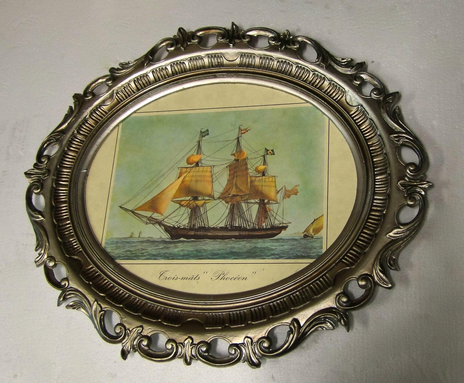 Gemälde Schiff Segelschiff Phoceen Bild Bilderrahmen groß Antik ...