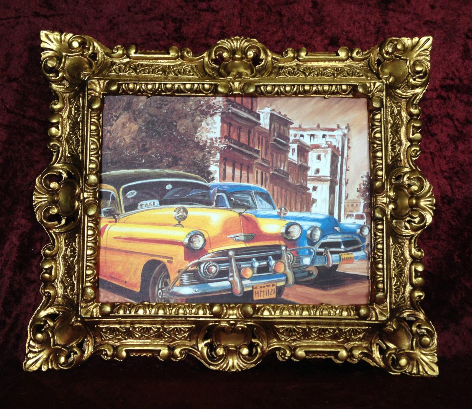 Auto Cuba Gelb Bild Rahmen Gold Wandbild 45x38 Oldtimer Kuba Classic ...