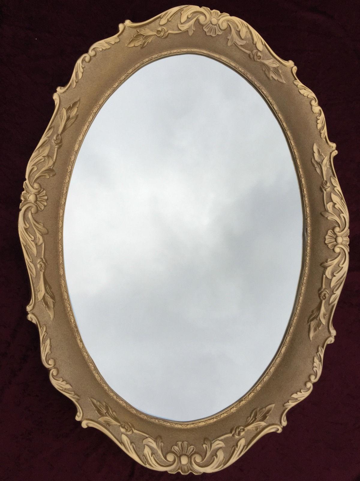 grosser wandspiegel barock 107x80 cm oval antik rahmen. Black Bedroom Furniture Sets. Home Design Ideas