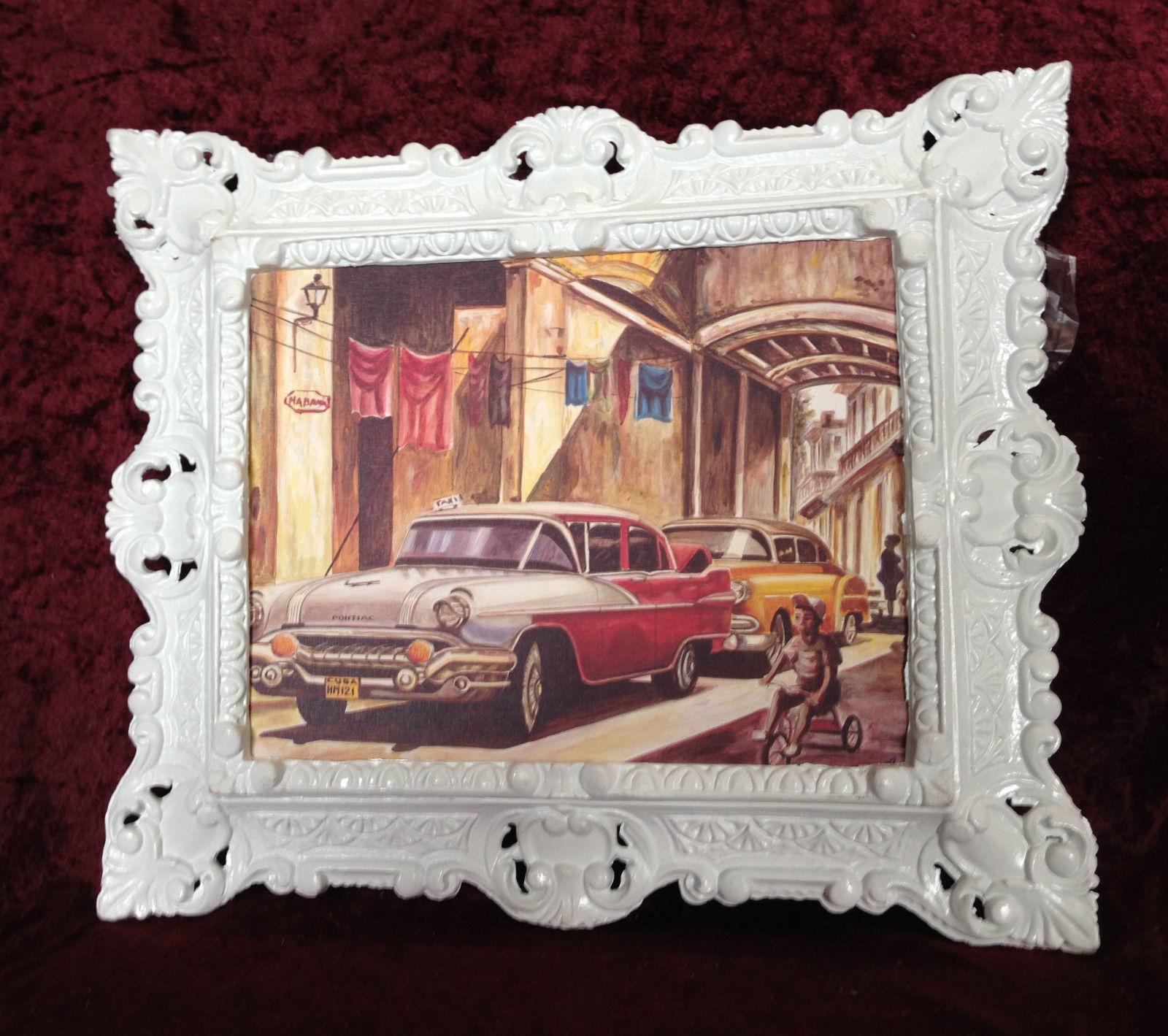 Auto Cuba Rot Bild Rahmen Weiß Wandbild 45x38 Oldtimer Classic Cuban ...