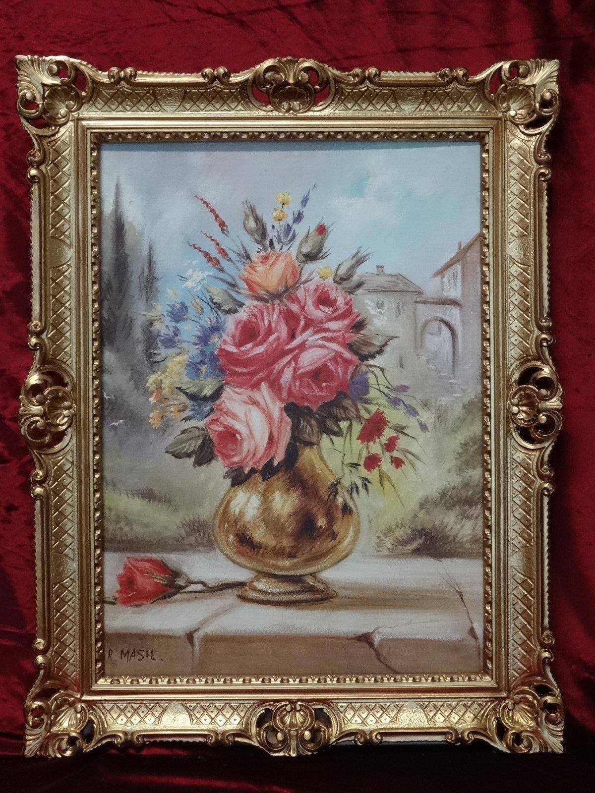 gem lde blumen gem lde bild 90x70 bild mit rahmen rosen goldene vase gerahmt b3 kaufen bei. Black Bedroom Furniture Sets. Home Design Ideas