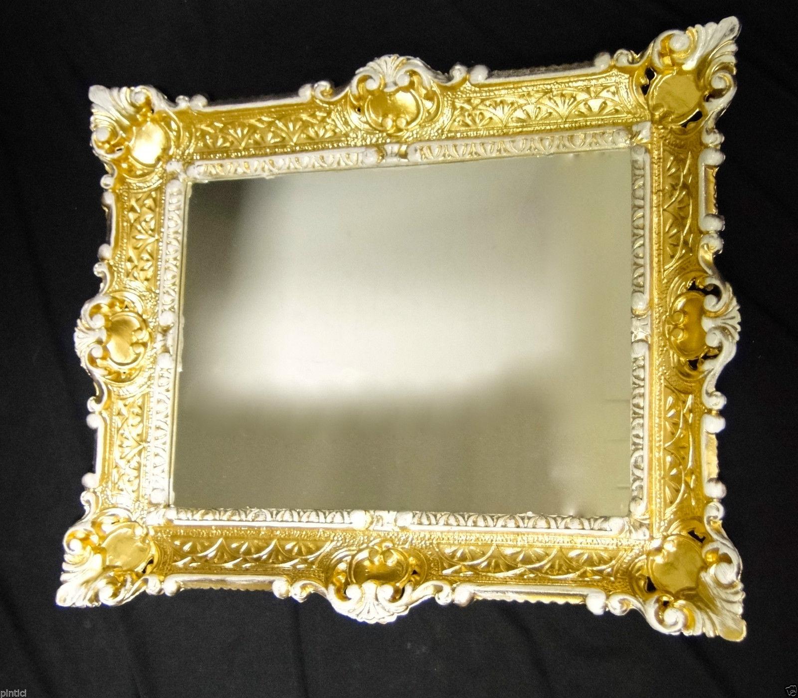 wandspiegel gold wei antik spiegel barock 57x47 bad spiegel rechteckig 39 49 kaufen bei pintici. Black Bedroom Furniture Sets. Home Design Ideas