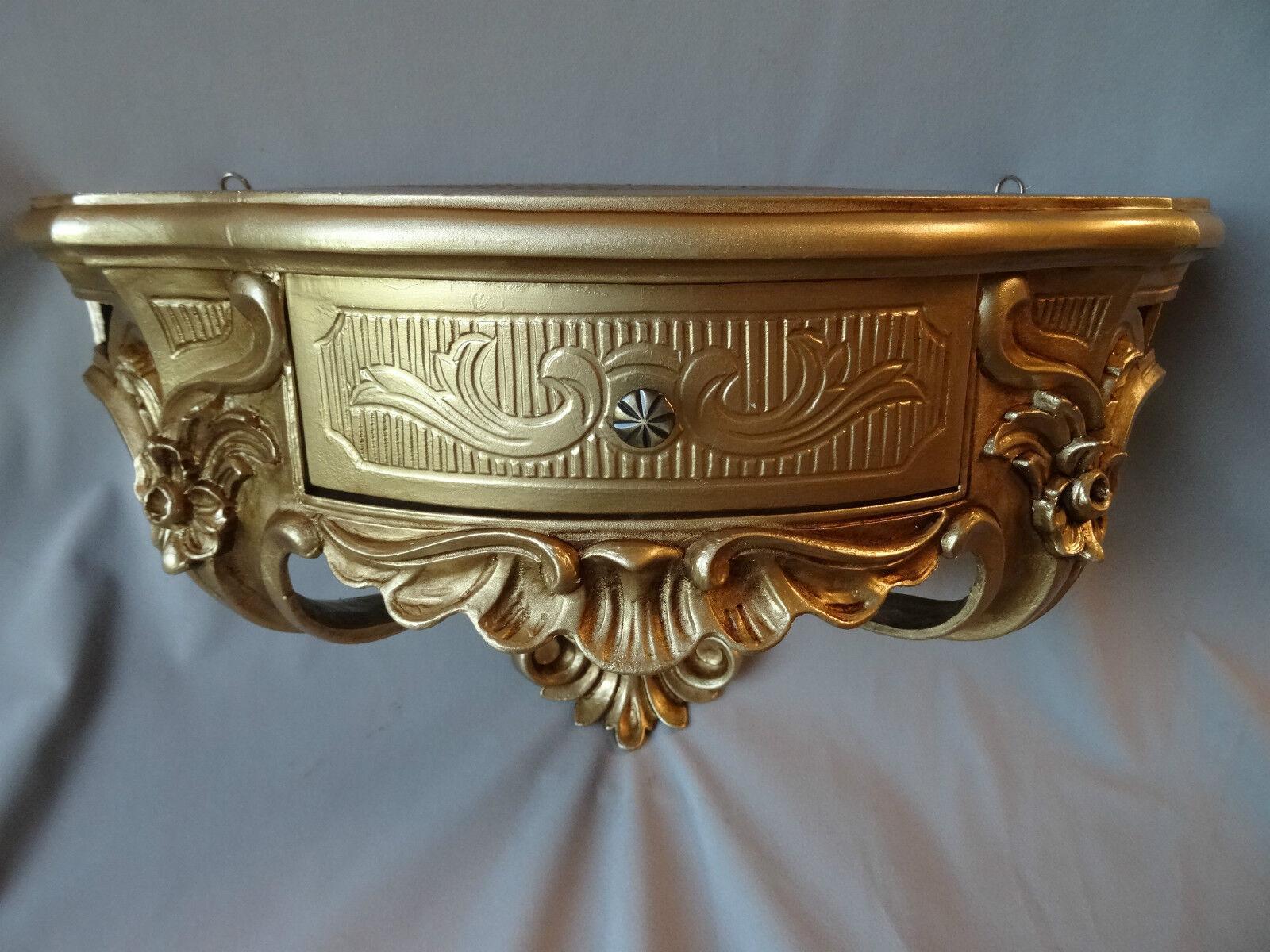 Wandkonsole mit Schublade//Spiegelkonsole// Barock Schwarz-Gold 50x27 Antik cp84
