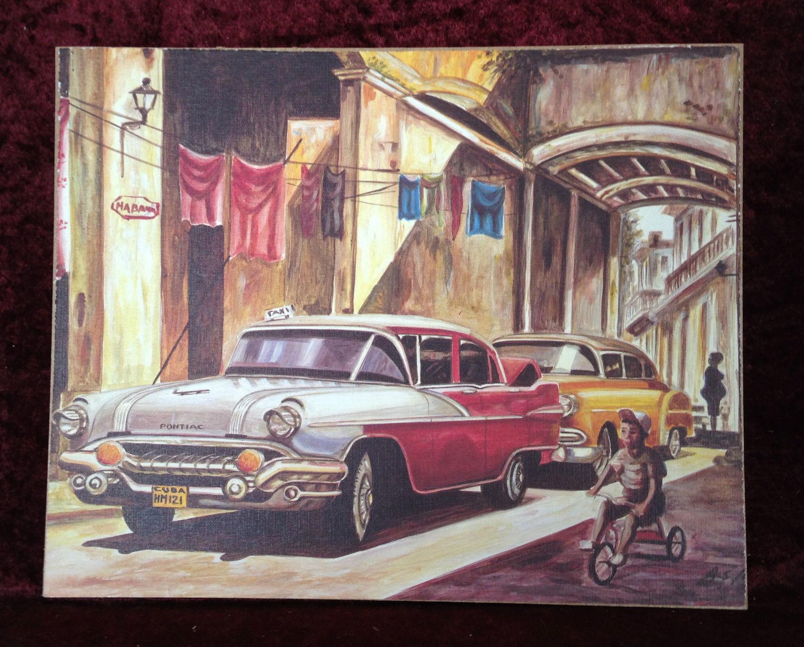 Auto Cuba Rot Bild Rahmen Gold-Weiß Wandbild 45x38 Oldtimer Classic ...
