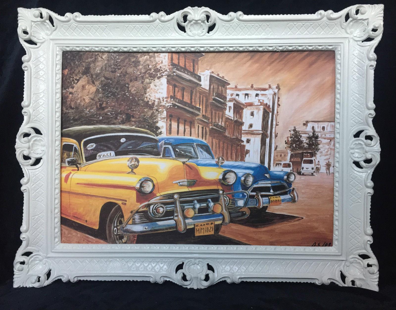 Auto Cuba Gelb Blau Bild Rahmen Weiß 70x90 Oldtimer Classic Cuban ...