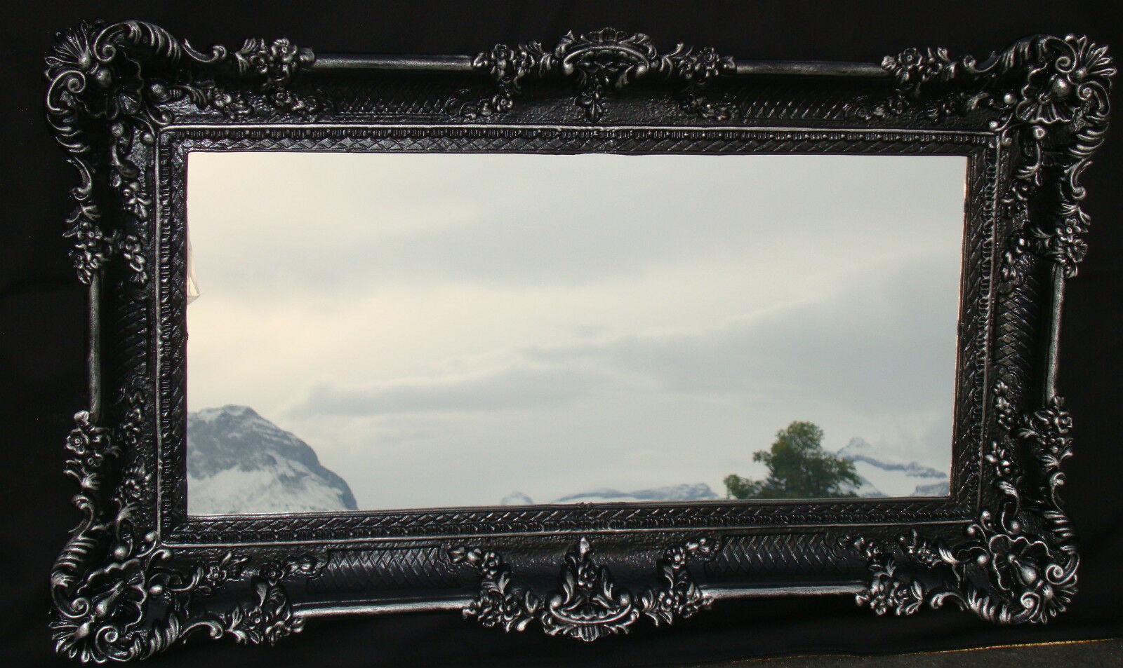 Wandspiegel Barock Antik DEKO Badspiegel, Schwarz-Silber 97x57, NEU ...