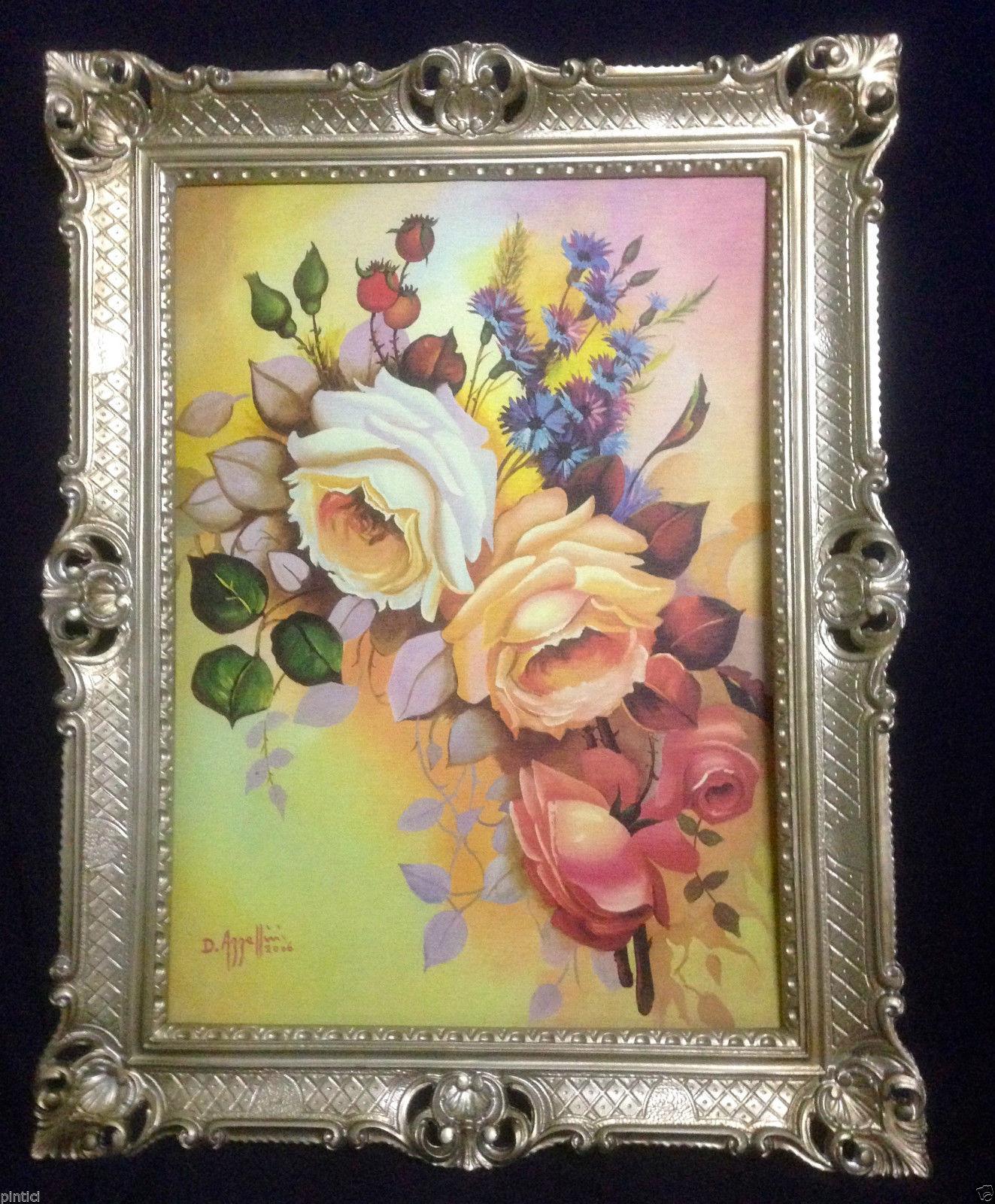 Gerahmte Gemälde BLUMEN Rosen Bild 90X70 Rosenbilder Bild mit Rahmen ...