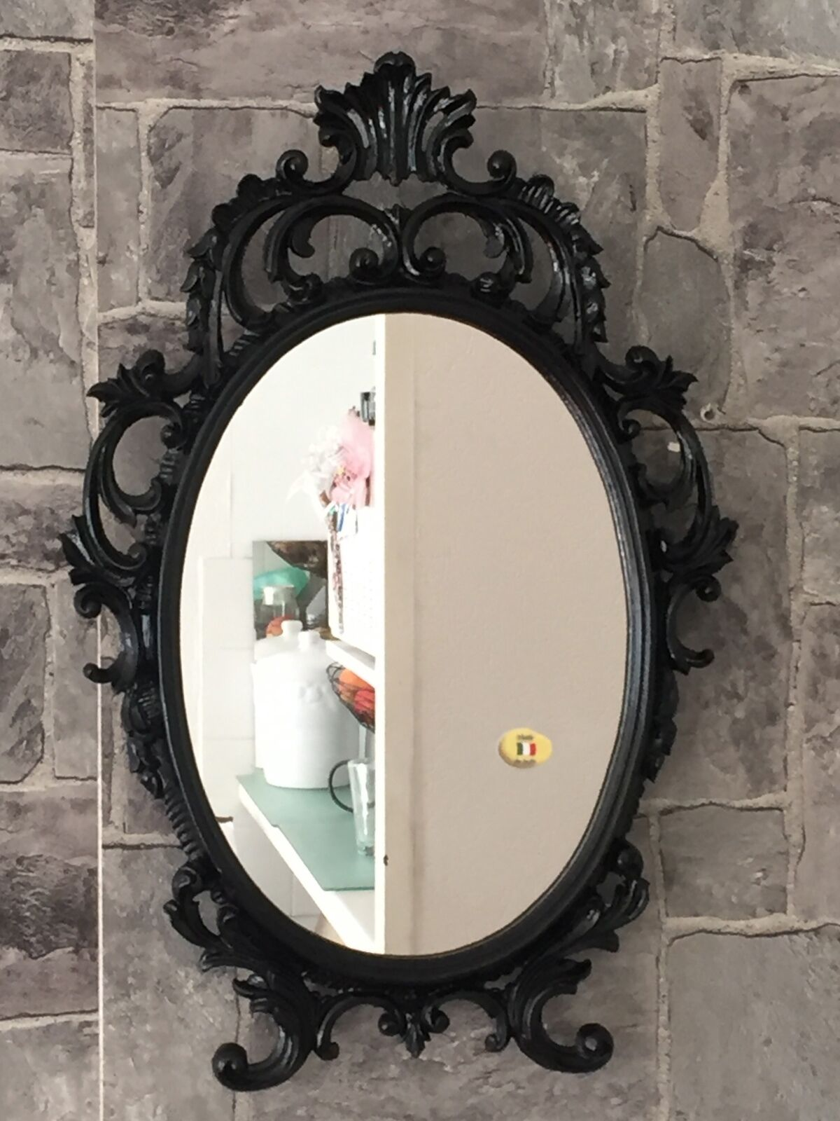 Wandspiegel oval barock gold silber schwarz wei 43x28cm spiegel antik shabby kaufen bei - Spiegel oval silber ...