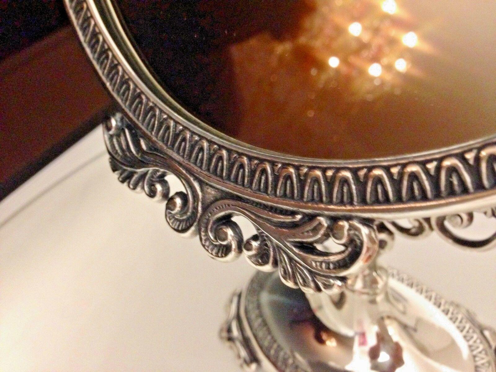Standspiegel Silber MESSING Schminkspiegel Kippspiegel Antik schwenk ...