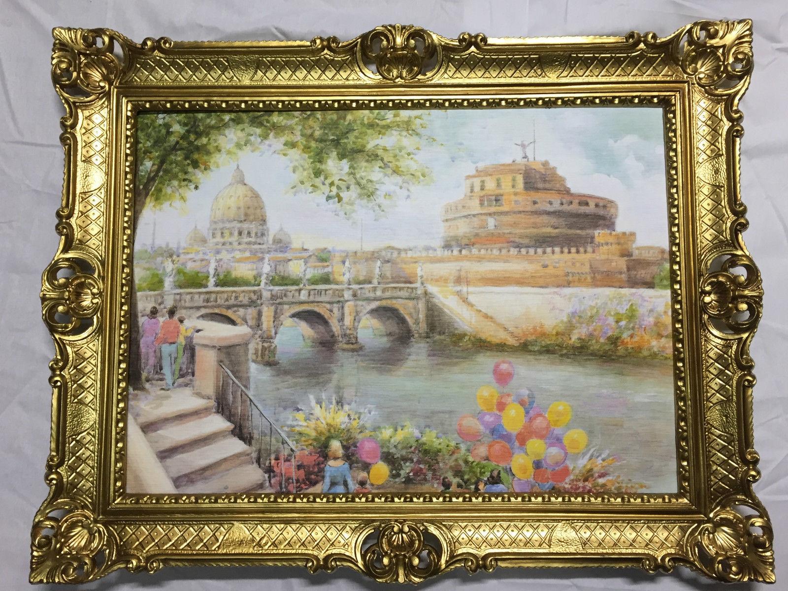 Italien Bild Gerahmte Landschaftsbild Gemälde Städte 90x70 Rom ...