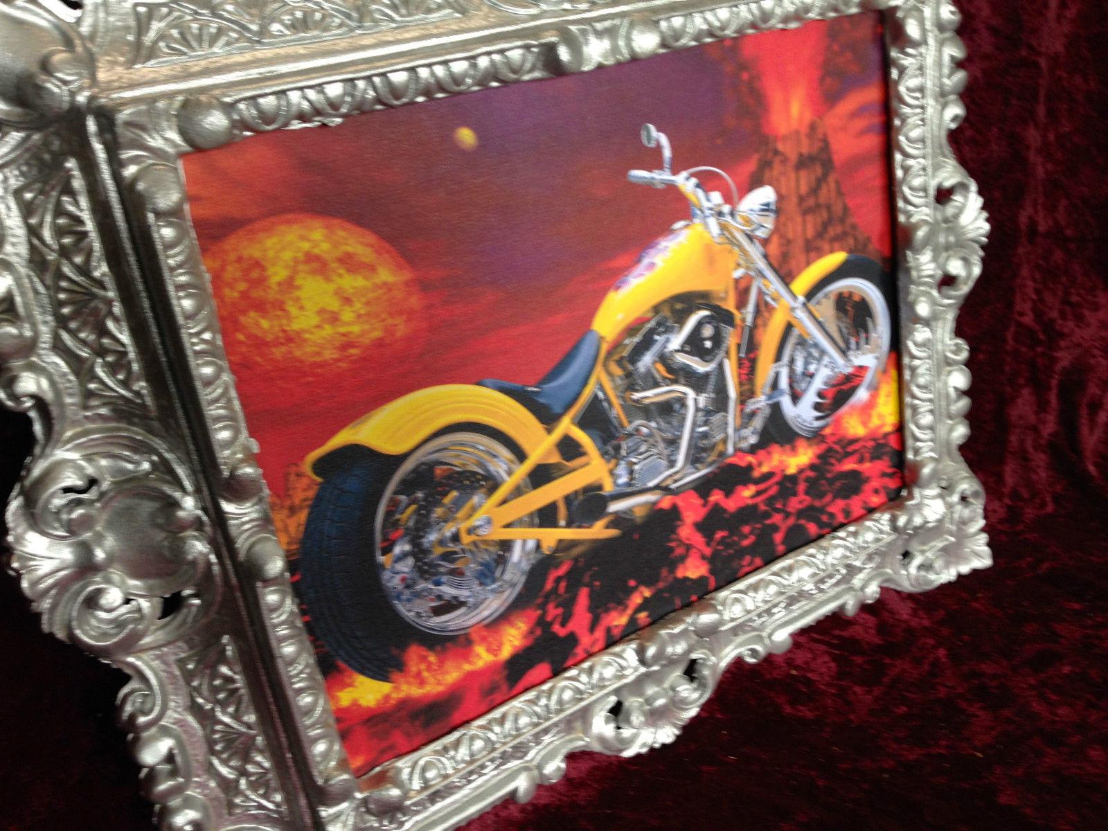 Wanbild Motorrad Chopper Gelb mit Rahmen Silber 45x38 Oldtimer ...