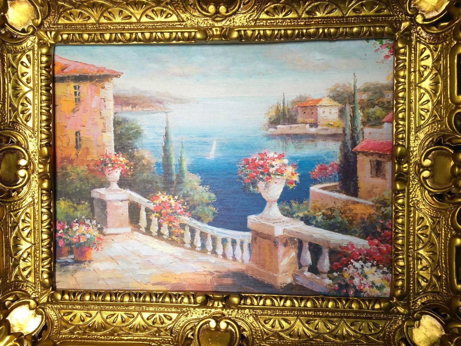 landschaftsbild haus am see wandbild mit rahmen 57x47 kunstdruck blumenstrau kaufen bei. Black Bedroom Furniture Sets. Home Design Ideas
