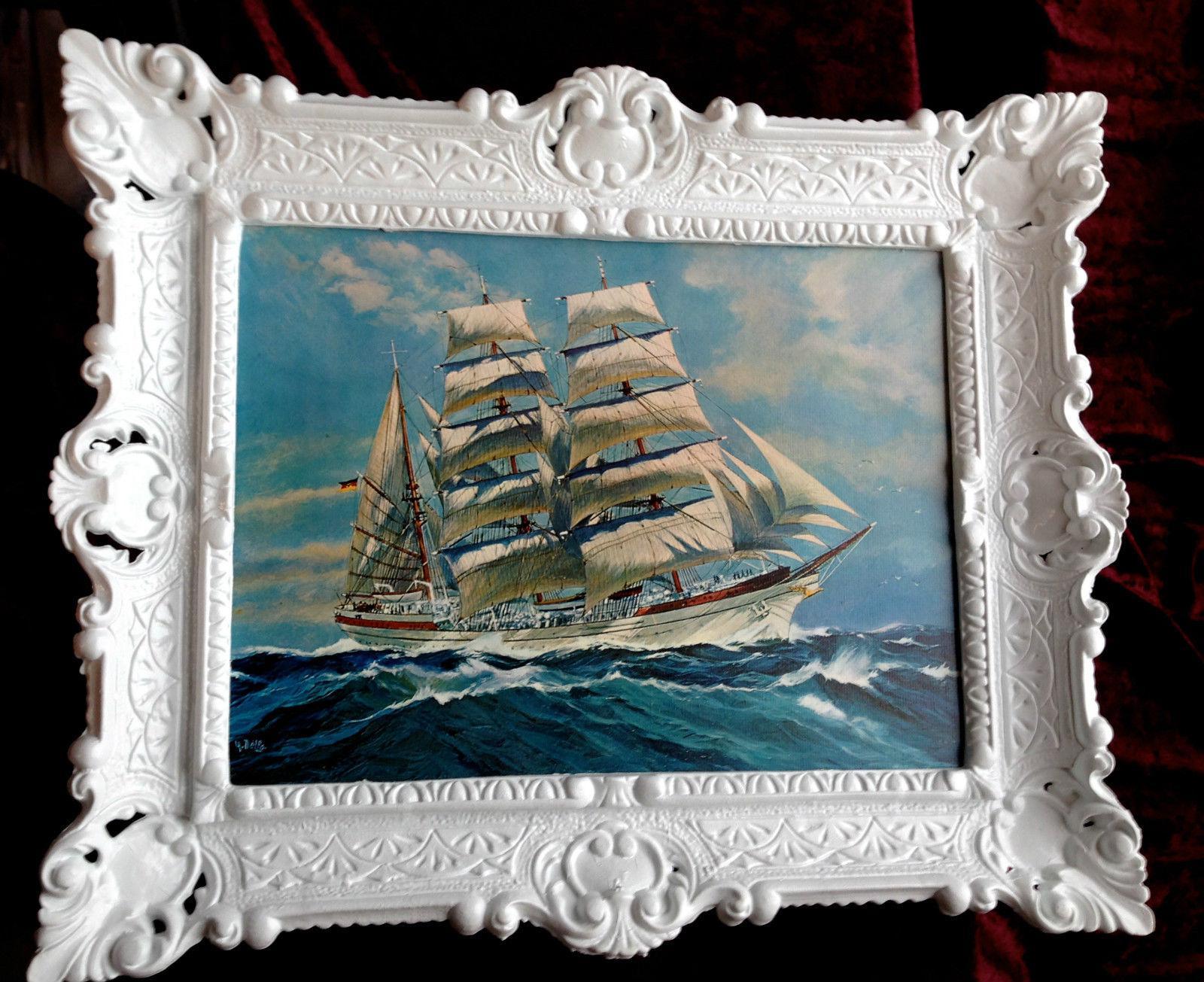 Bild mit Rahmen Bild Segelschiff Antik 56x46 See Bilderrahmen Barock ...