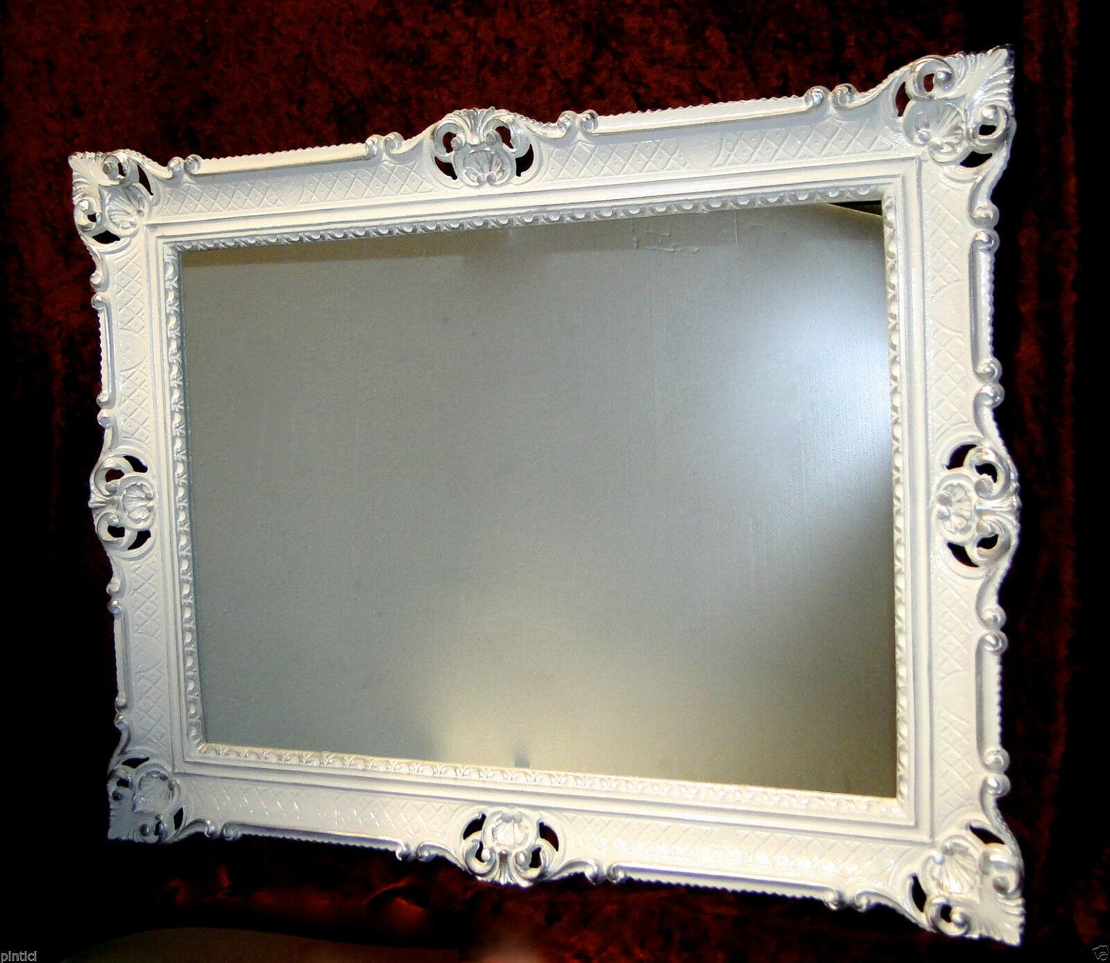Wandspiegel Barock Großer Spiegel Weiß Silber90x70 Bilderrahmen ...