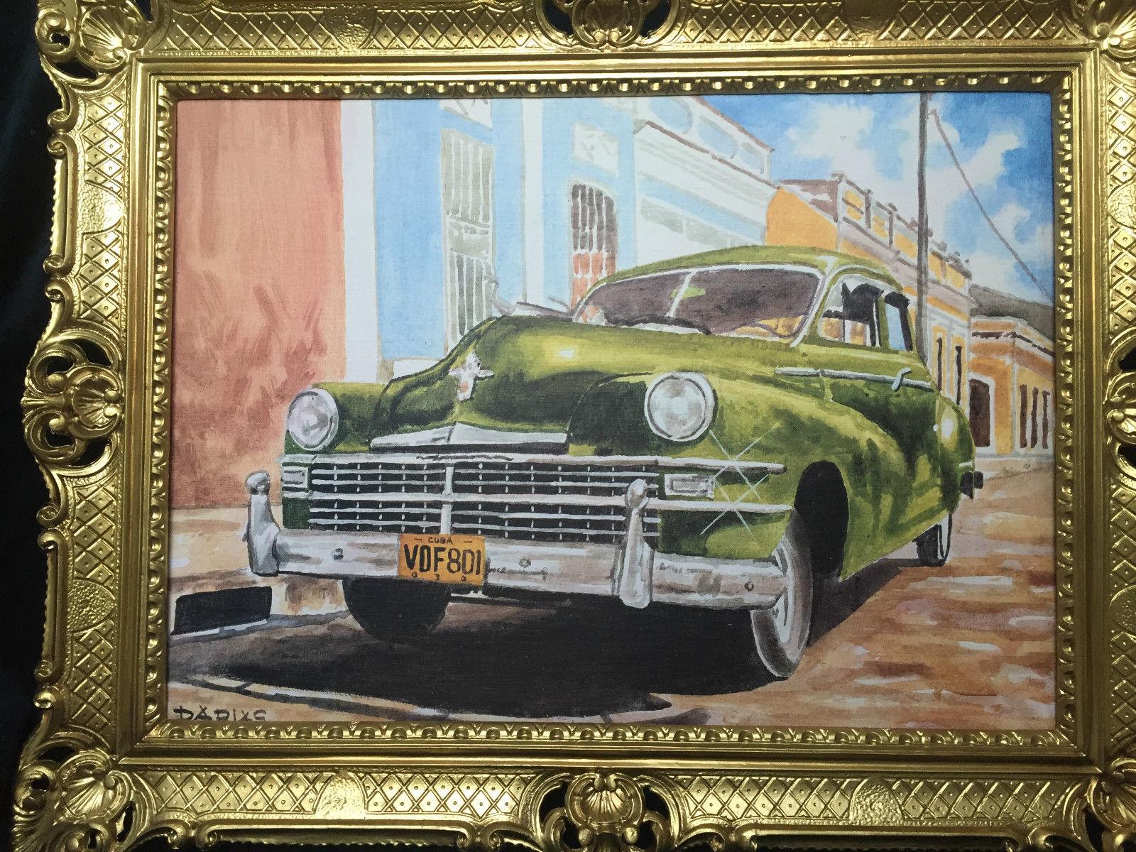 Auto Cuba Grün Bild Rahmen Gold Wandbild 70x90 Oldtimer Classic ...