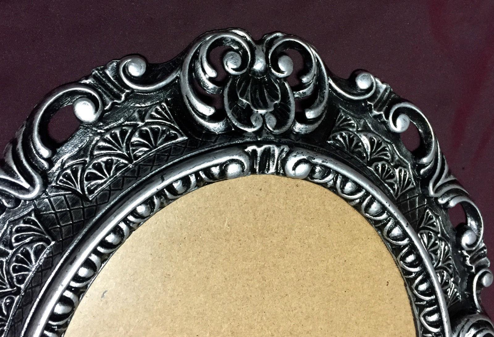 Bilderrahmen Oval Barock Schwarz-Silber 45X38 Fotorahmen ...