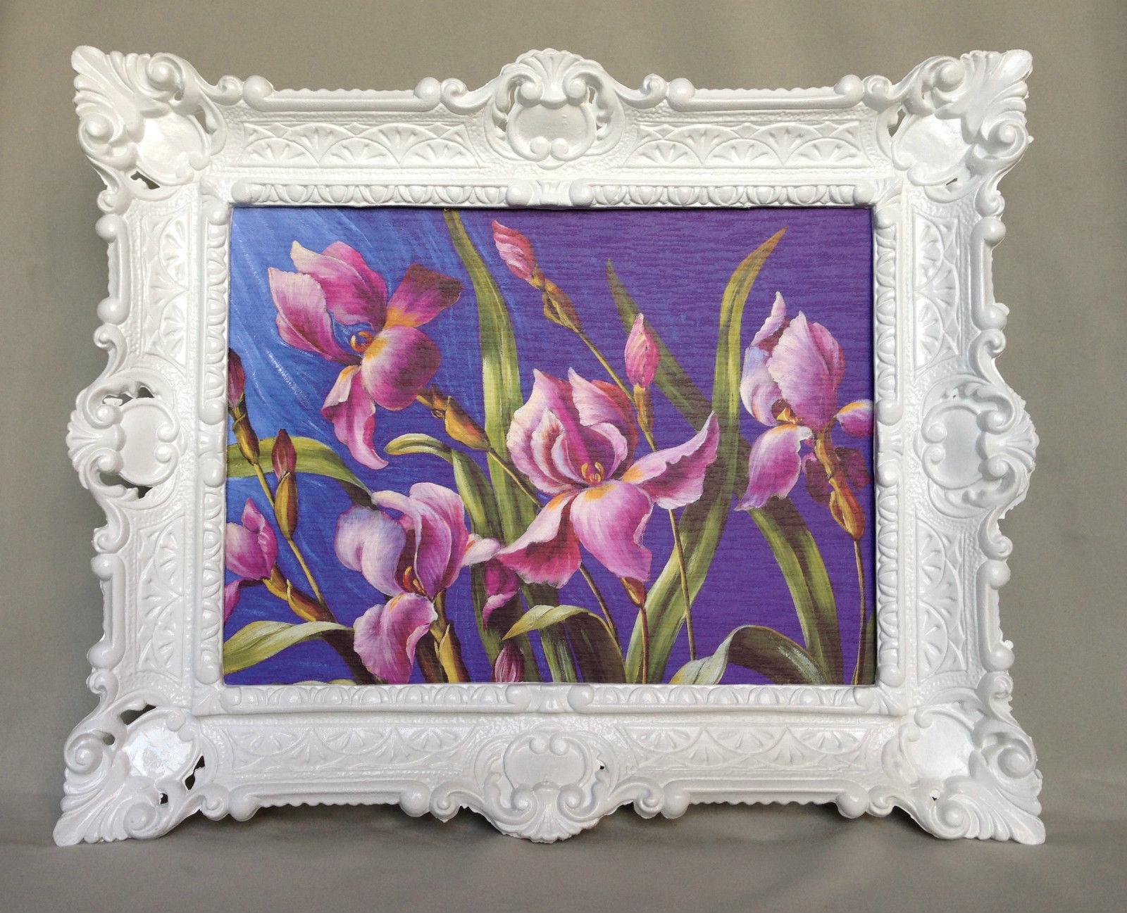 Gemälde Blumen Lila Wandbild 57x47 Blumen Bild mit Rahmen Weiß 06 ...